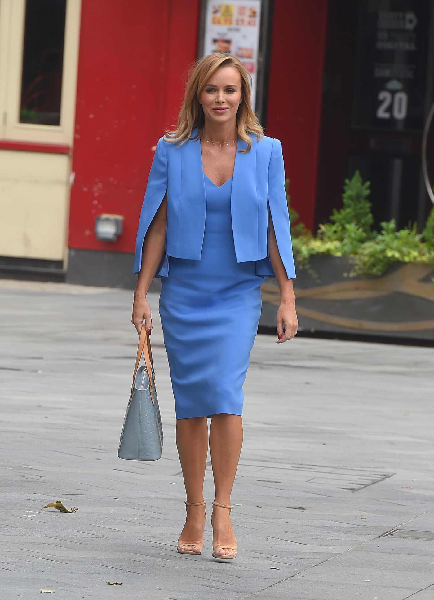 Amanda Holden in a Light Blue Dress Arrives at Global Radio Studios in London 06/10/2020