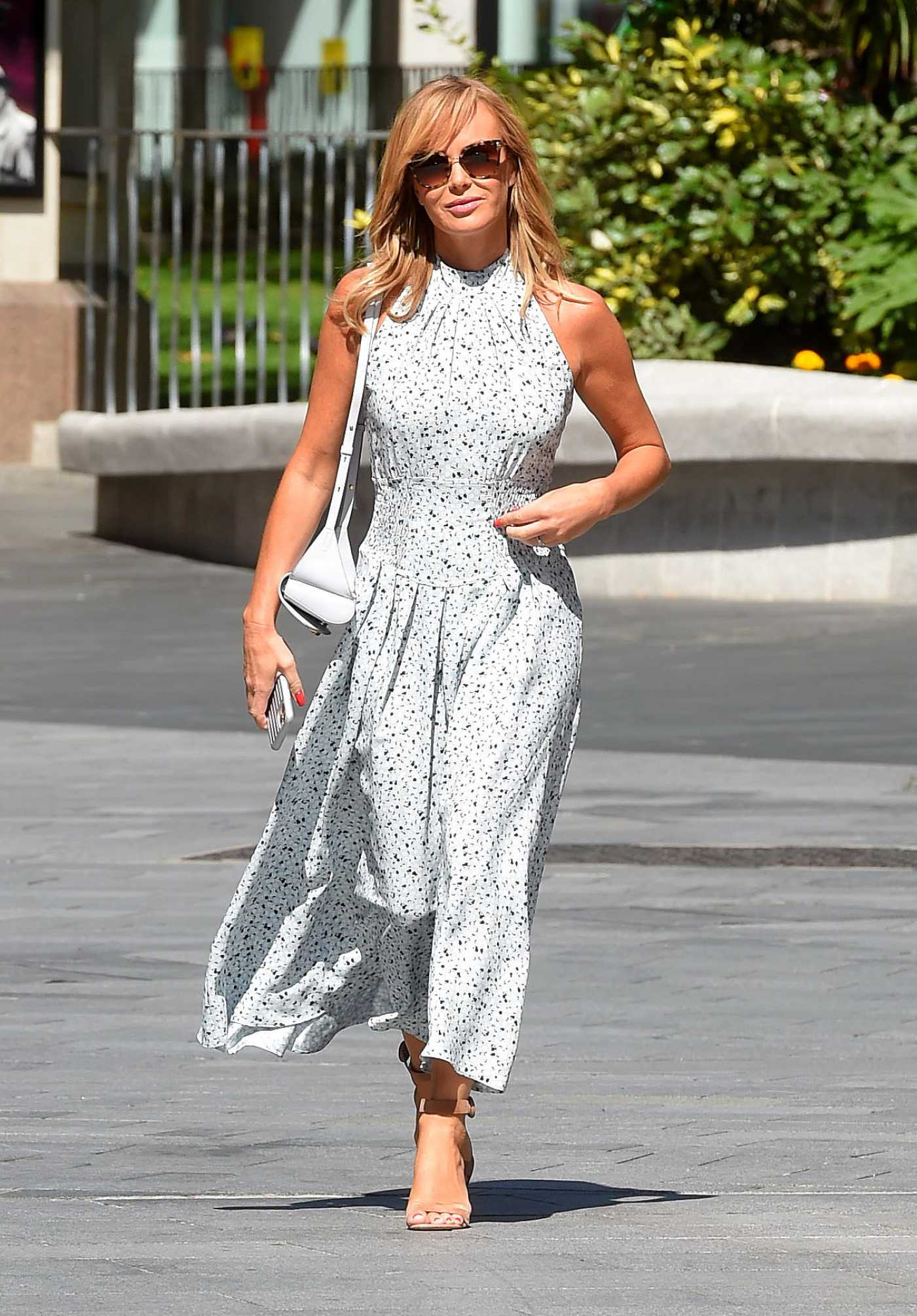 Amanda Holden in a White Dress Arrives at the Heart Radioin London 06/23/2020