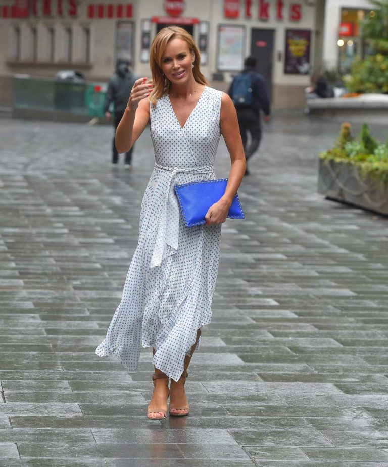Amanda Holden in a White Polka Dot Dress