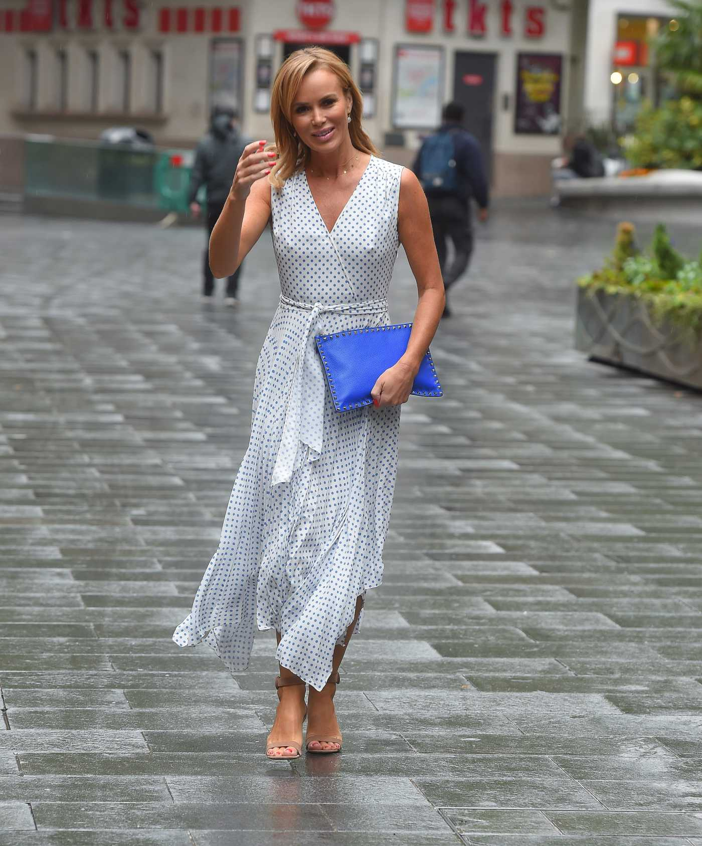 Amanda Holden in a White Polka Dot Dress Arrives at the Global Radio Studios in London 06/18/2020