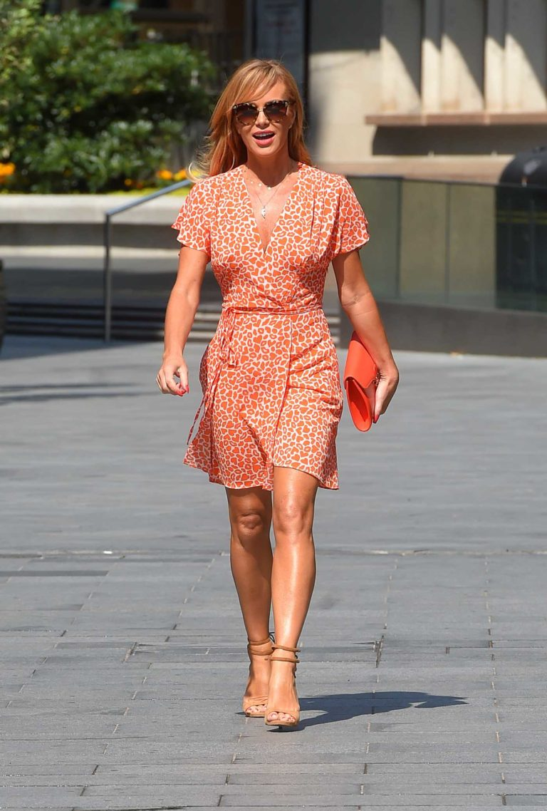Amanda Holden in an Orange Animal Print Mini Dress