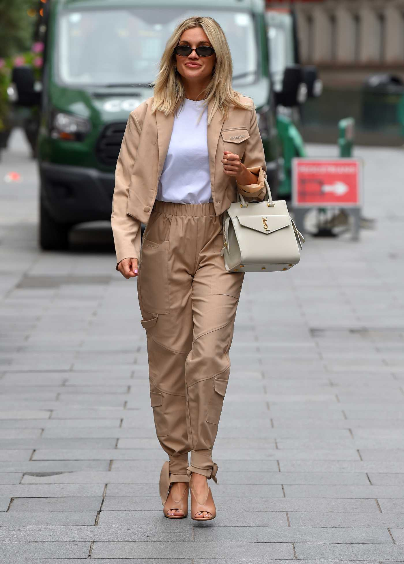 Ashley Roberts in a Beige Suit Leaves the Global Radio Studios in London 06/29/2020