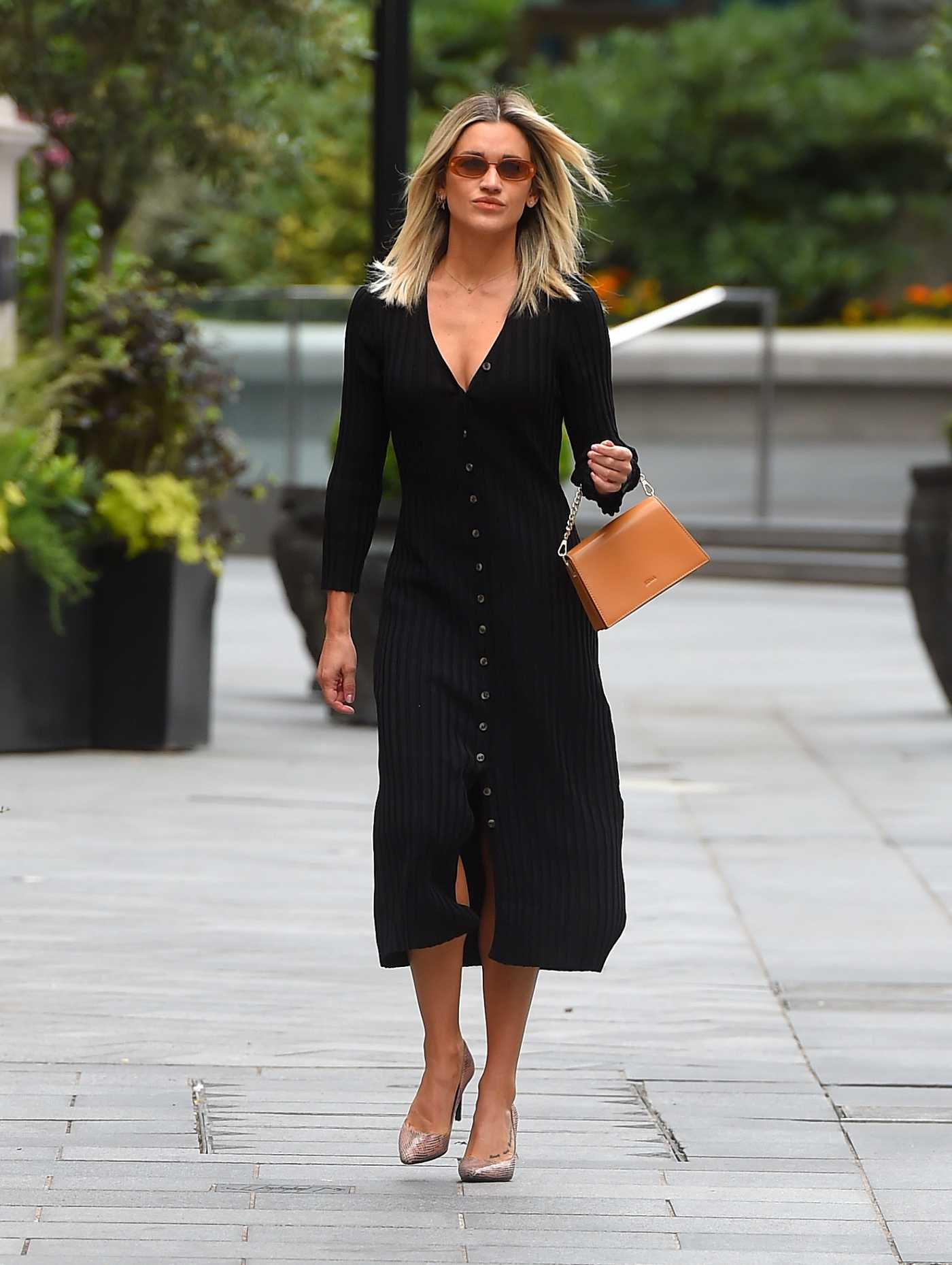 Ashley Roberts in a Black Dress Arrives at the Global Offices in London 06/08/2020