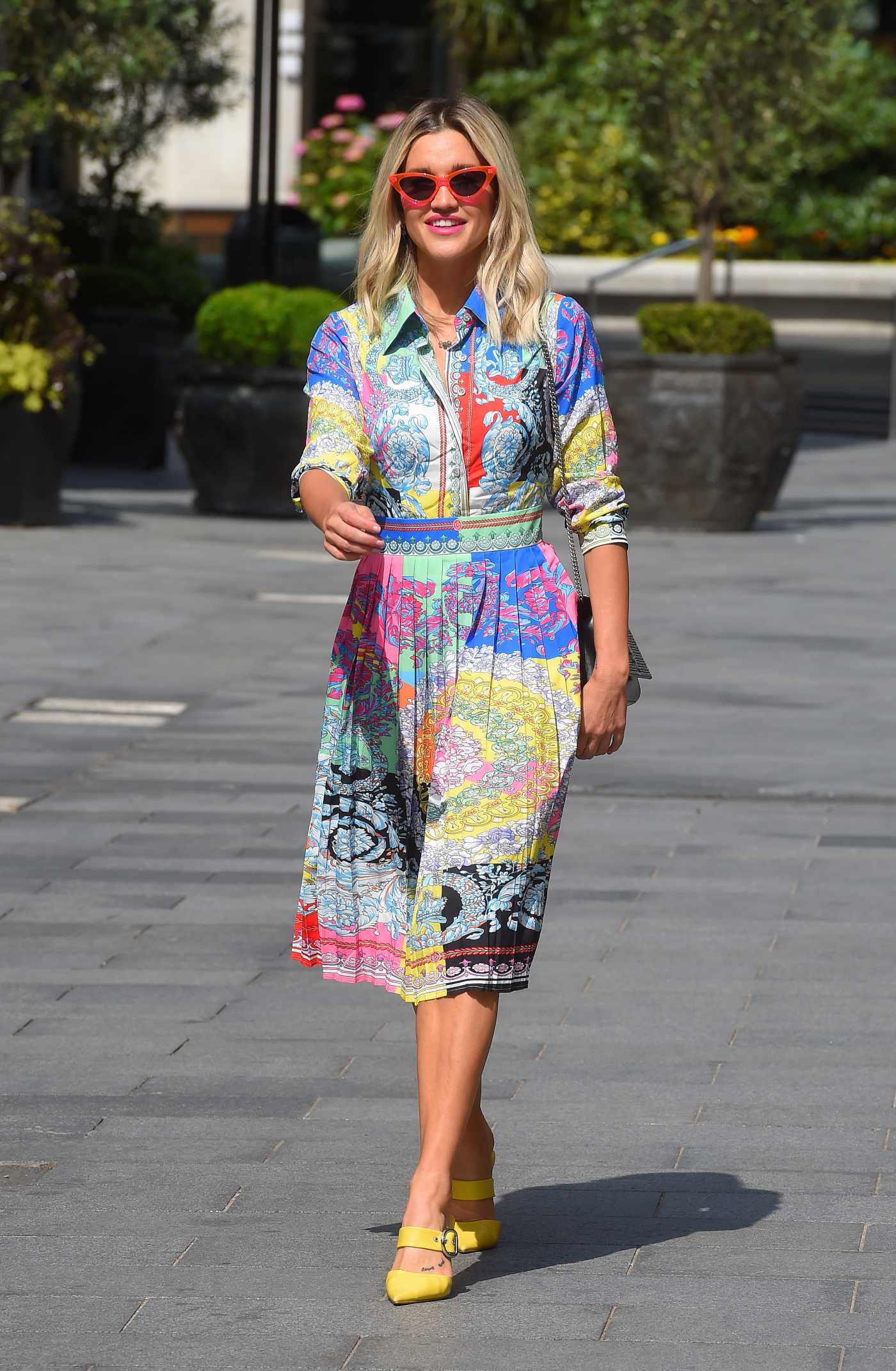 Ashley Roberts in a Colorful Dress Leaves the Global Radio Studios in London 06/09/2020