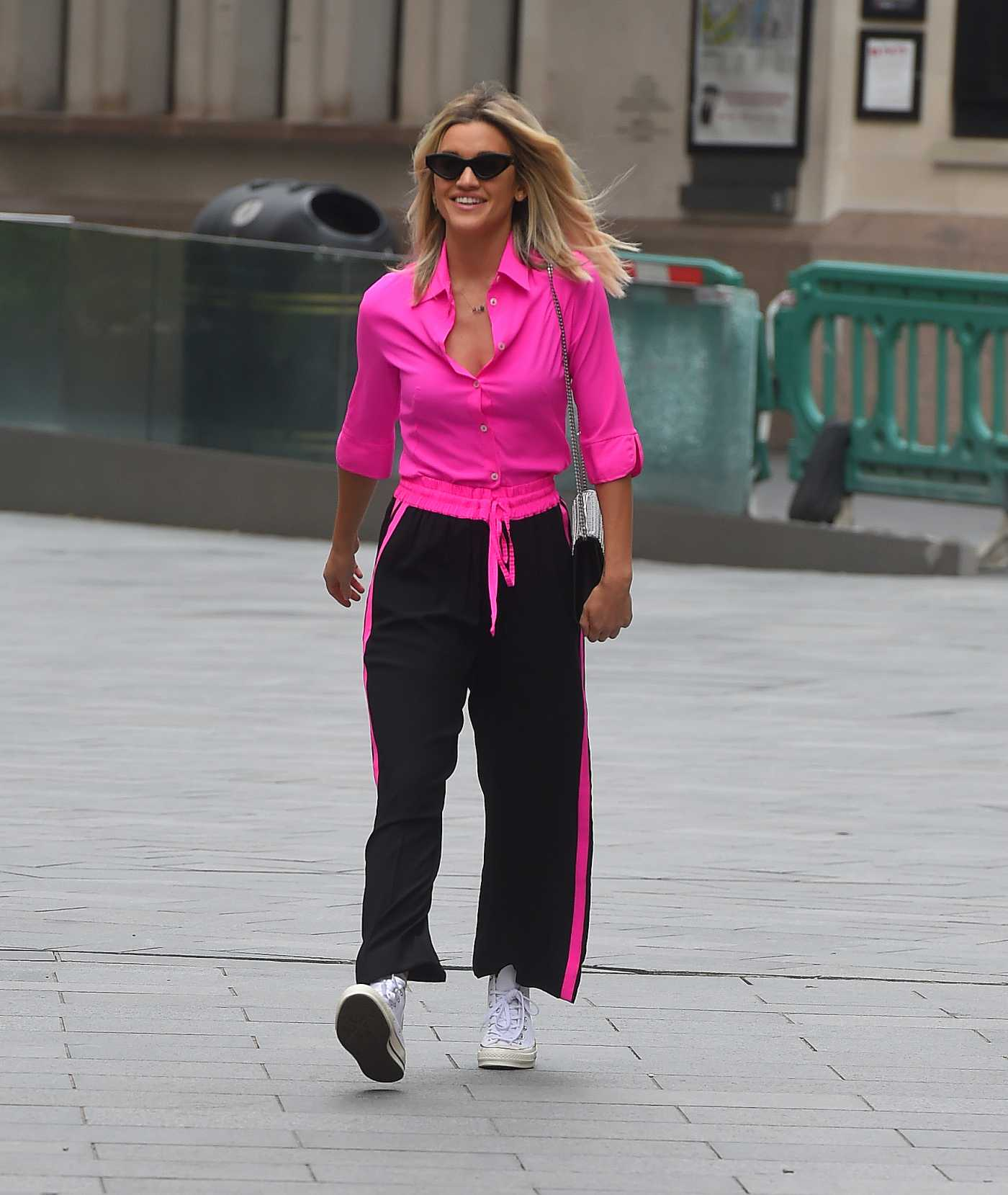 Ashley Roberts in a Neon Pink Blouse Leaves the Global Radio Studios in London 06/10/2020