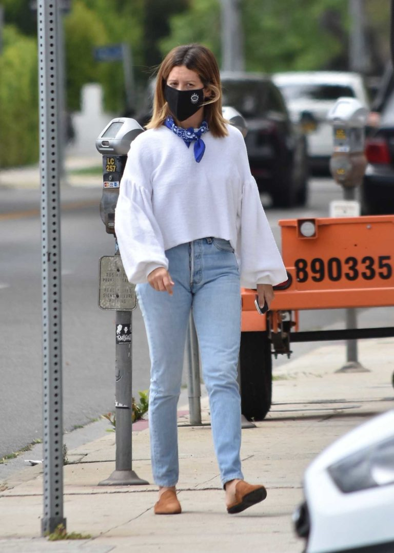 Ashley Tisdale in a Black Protective Mask