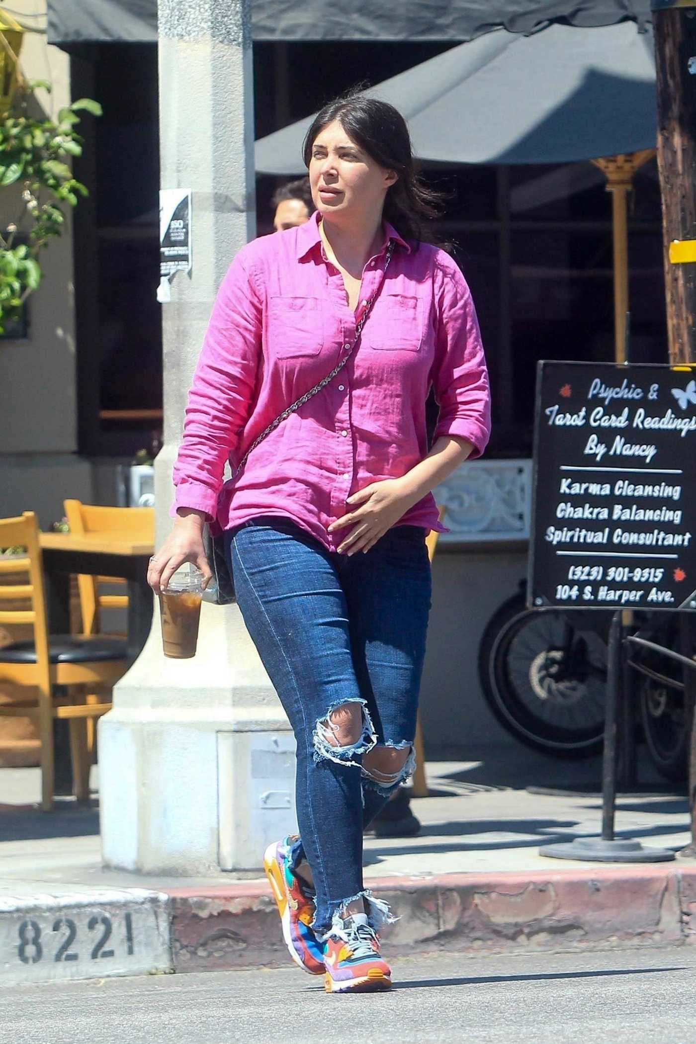 Brittny Gastineau in a Blue Ripped Jeans Leaves Lunch at Il Pastaio in Beverly Hills 06/11/2020