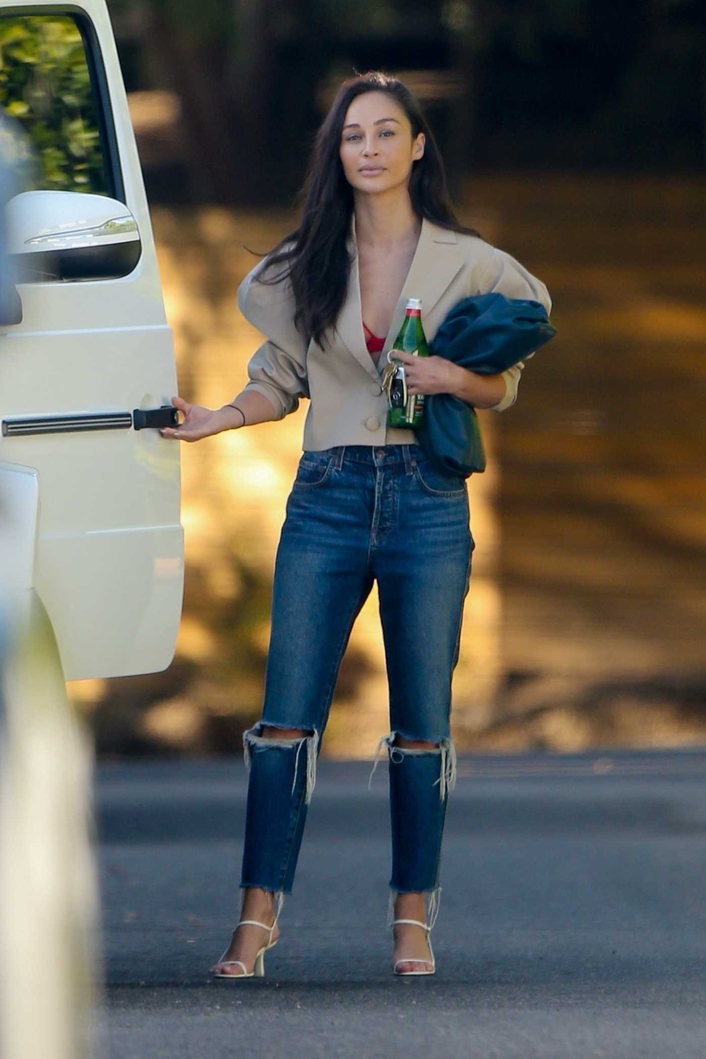 Cara Santana in a Blue Ripped Jeans Leaves a Friend's House in Los Angeles 06/24/2020