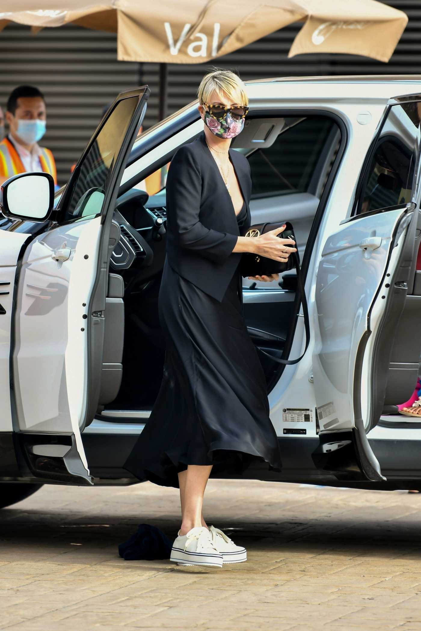 Charlize Theron in a Black Dress Arrives at Nobu in Malibu 06/20/2020