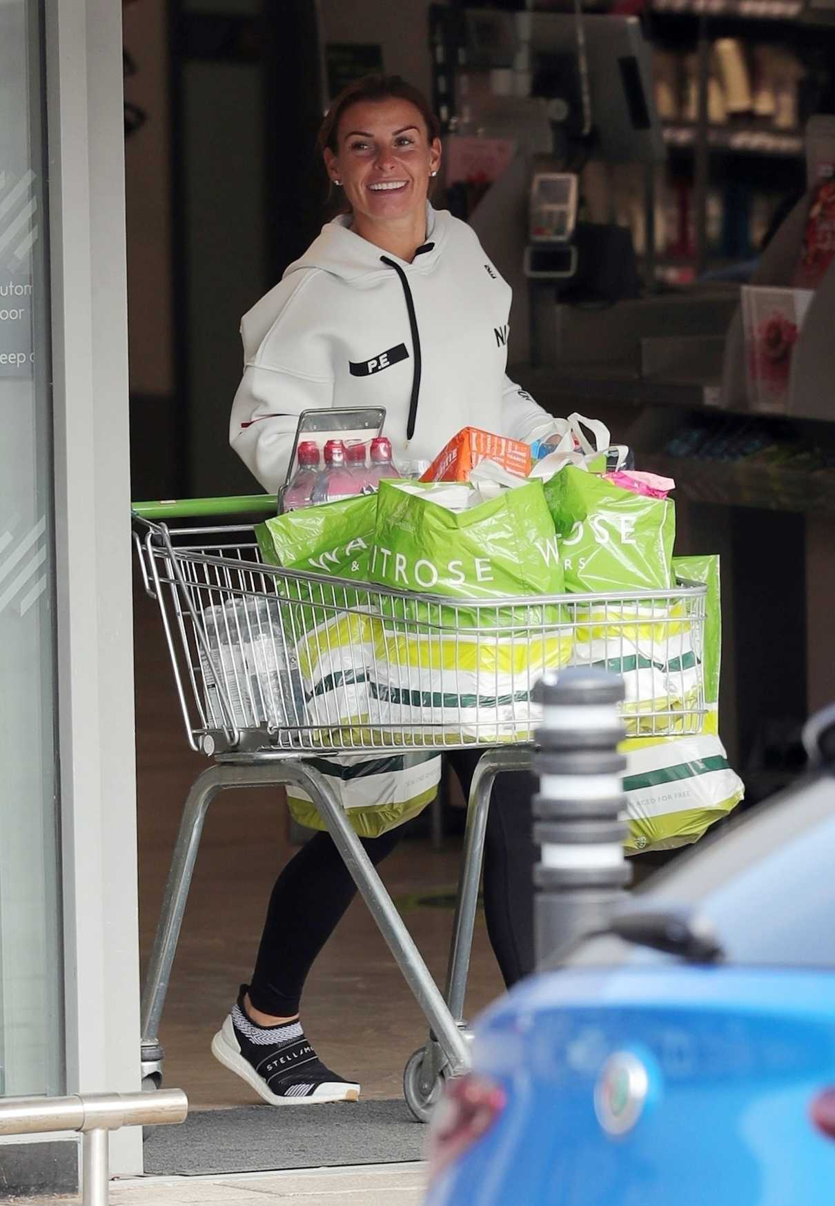 Coleen Rooney in a White Hoody Goes Grocery Shopping at Waitrose Supermarket in Cheshire 06/09/2020