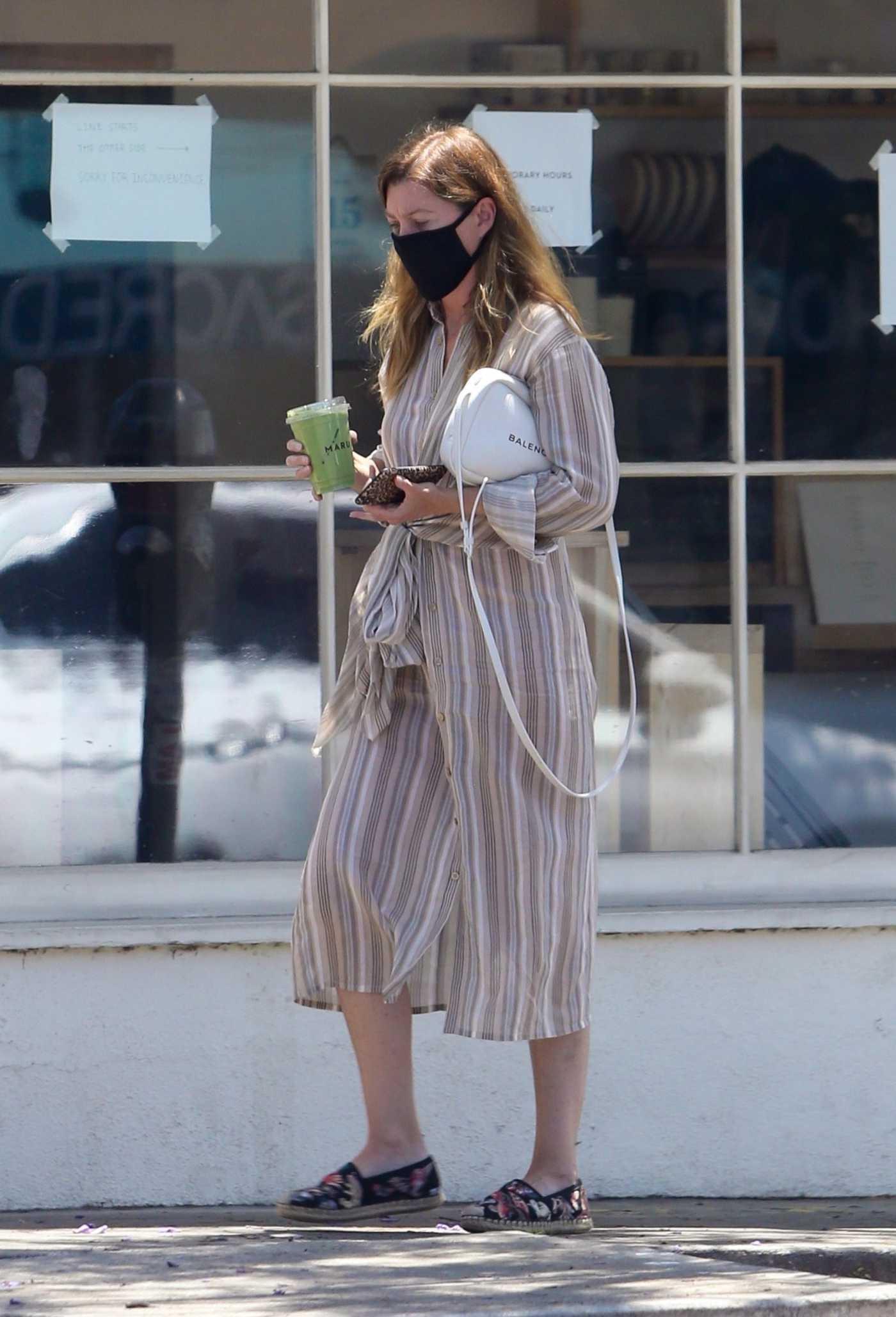 Ellen Pompeo in a Striped Dress Was Seen Out in Los Feliz 06/15/2020