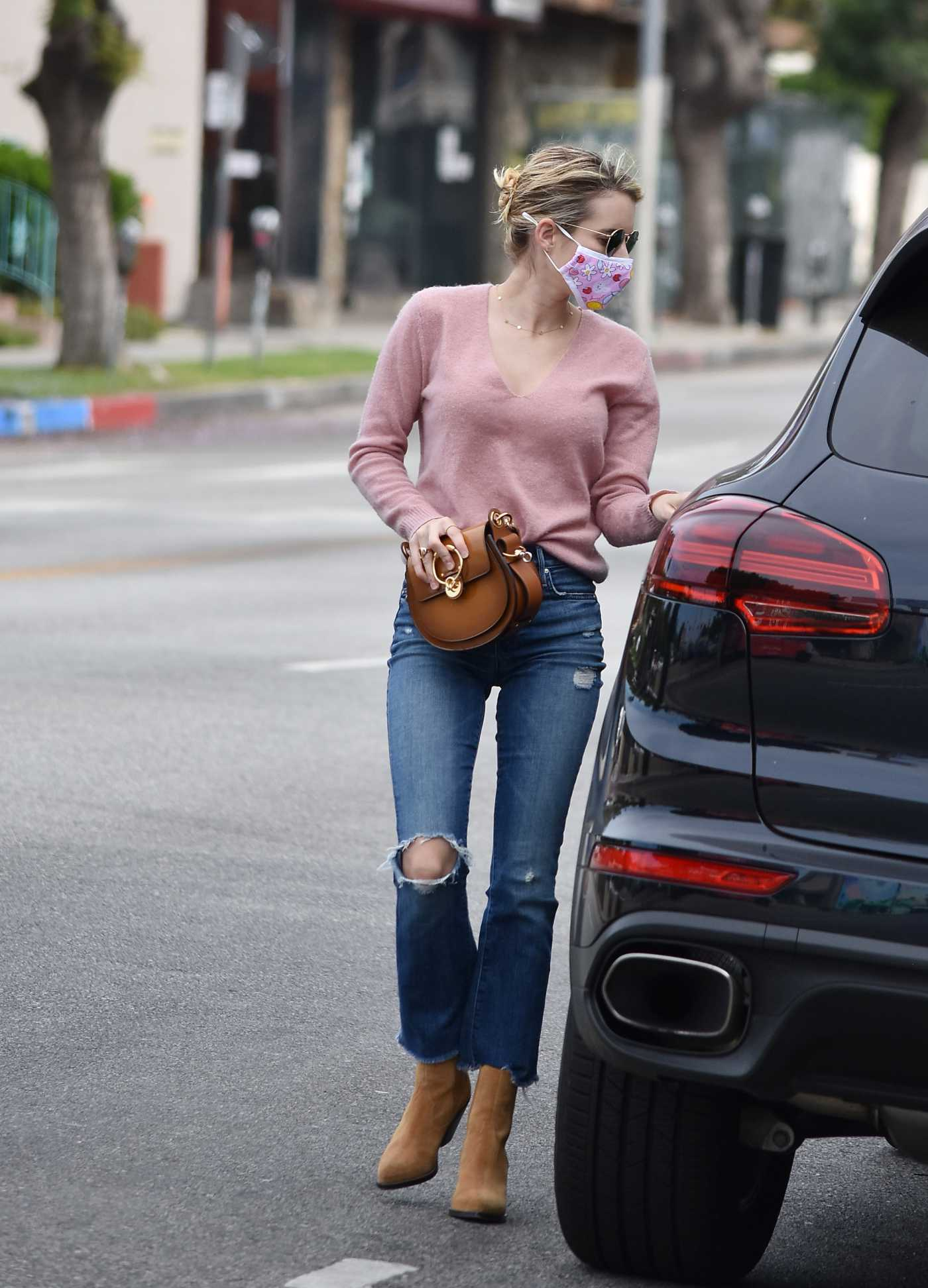 Emma Roberts in a Blue Ripped Jeans Was Seen Out in Los Angeles 05/30/2020