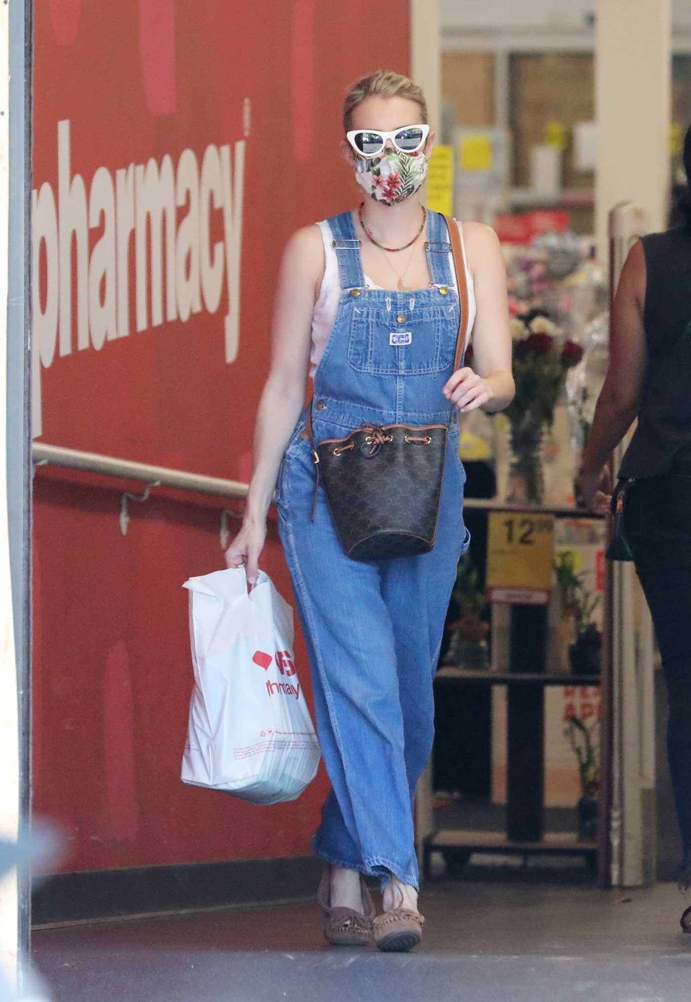Emma Roberts in a Denim Coverall Was Seen Out in Studio City 06/15/2020