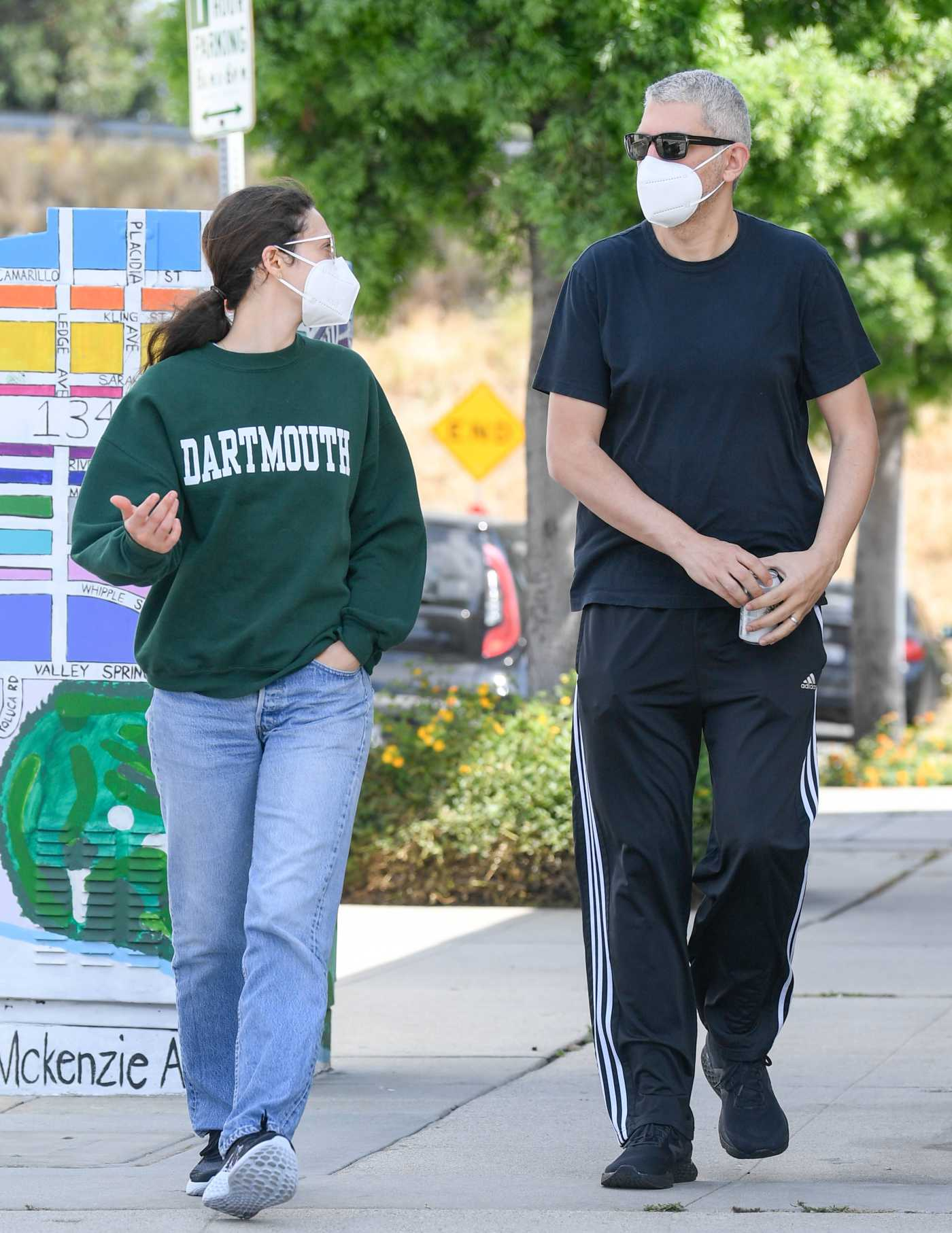 Emmy Rossum in a Green Sweatshirt Was Seen Out with Sam Esmail in Toluca Lake 05/31/2020