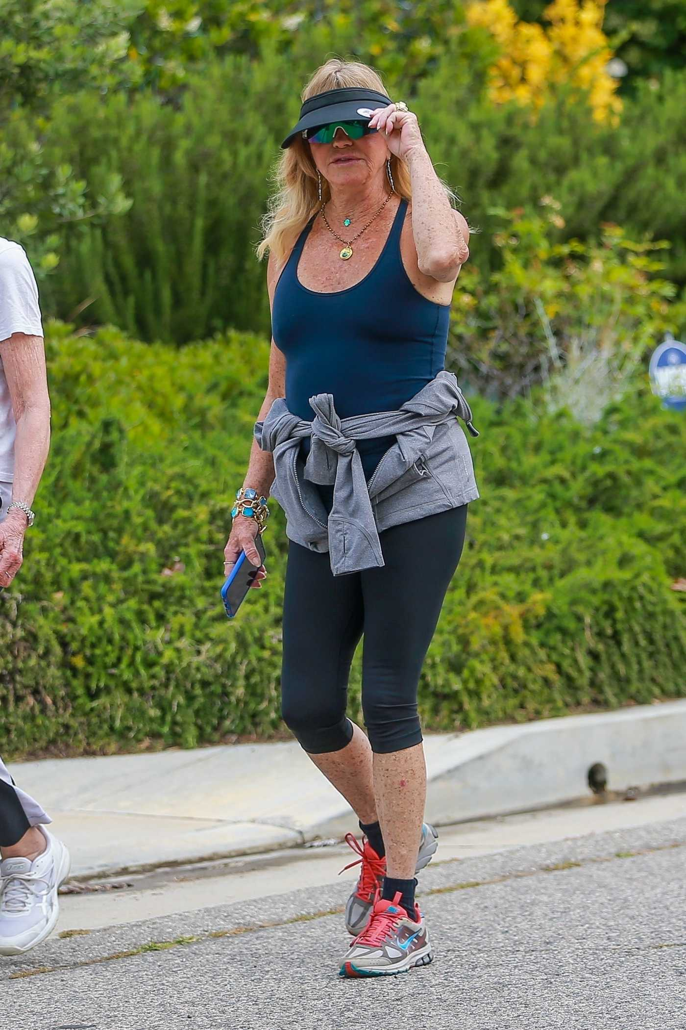 Goldie Hawn in a Blue Tank Top Goes Out for a Walk with a Friend in Brentwood 06/02/2020