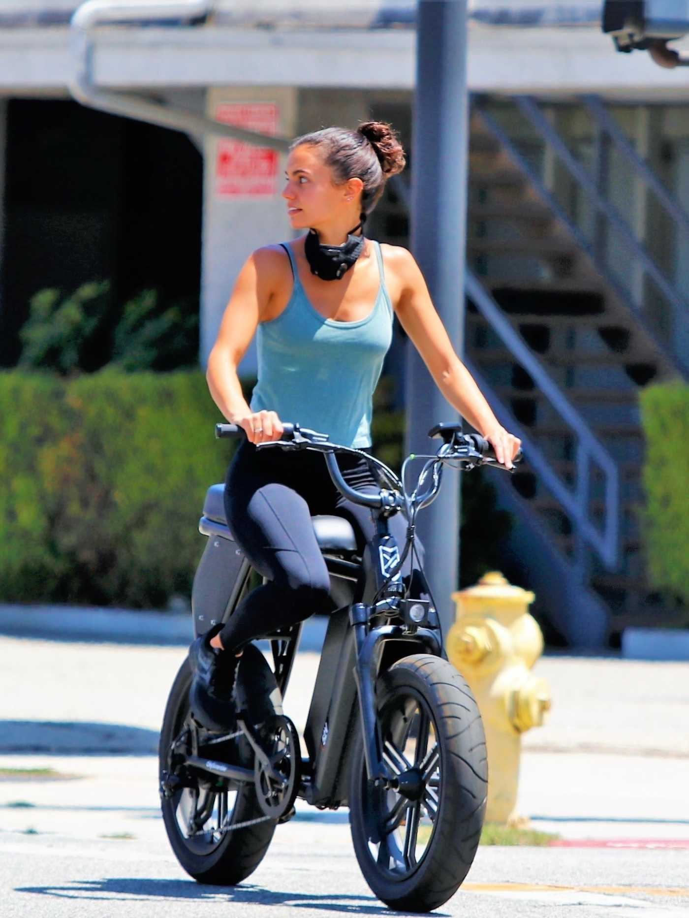 Hayley Erbert in a Light Blue Tank Top Does a Bike Ride Out with Derek Hough in Los Angeles 06/13/2020
