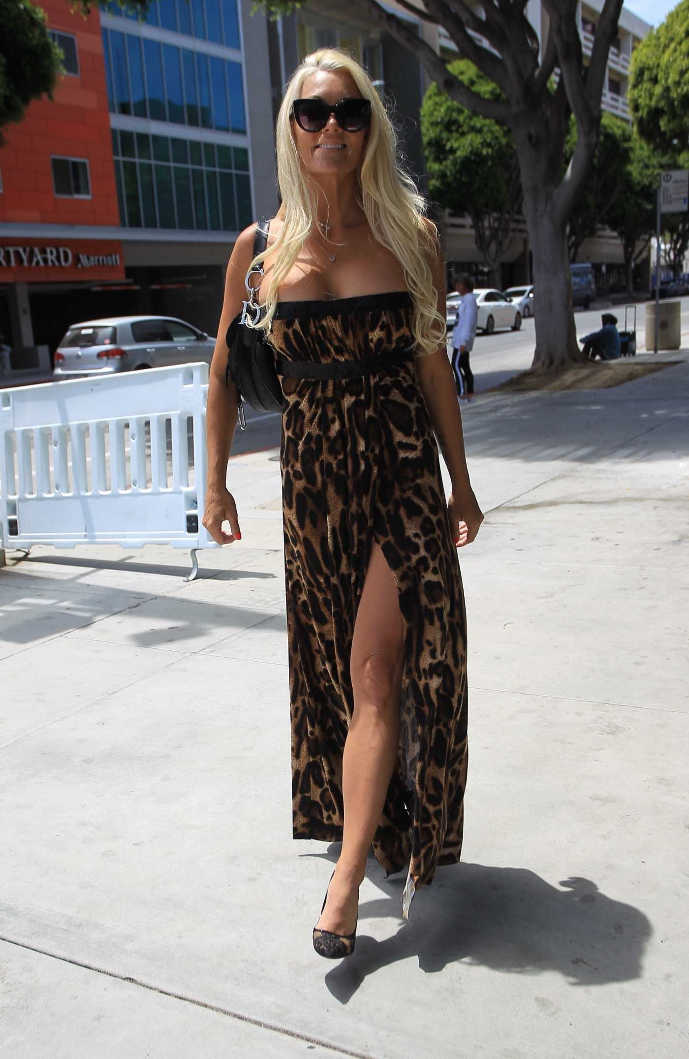 Heather Chadwell in an Animal Print Strapless Dress Was Seen Out in Santa Monica 05/31/2020