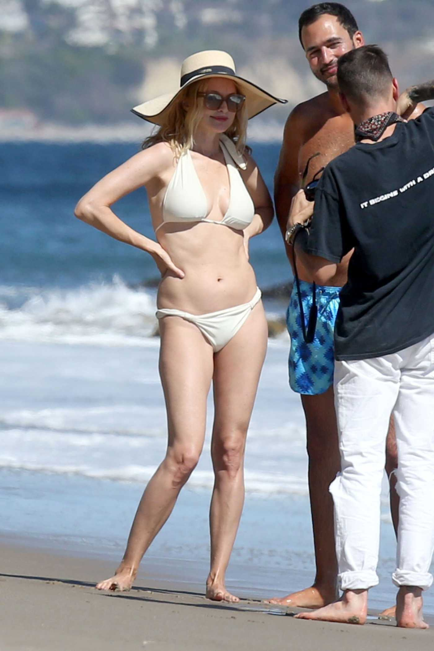 Heather Graham in a White Bikini on the Beach in Malibu 06/08/2020