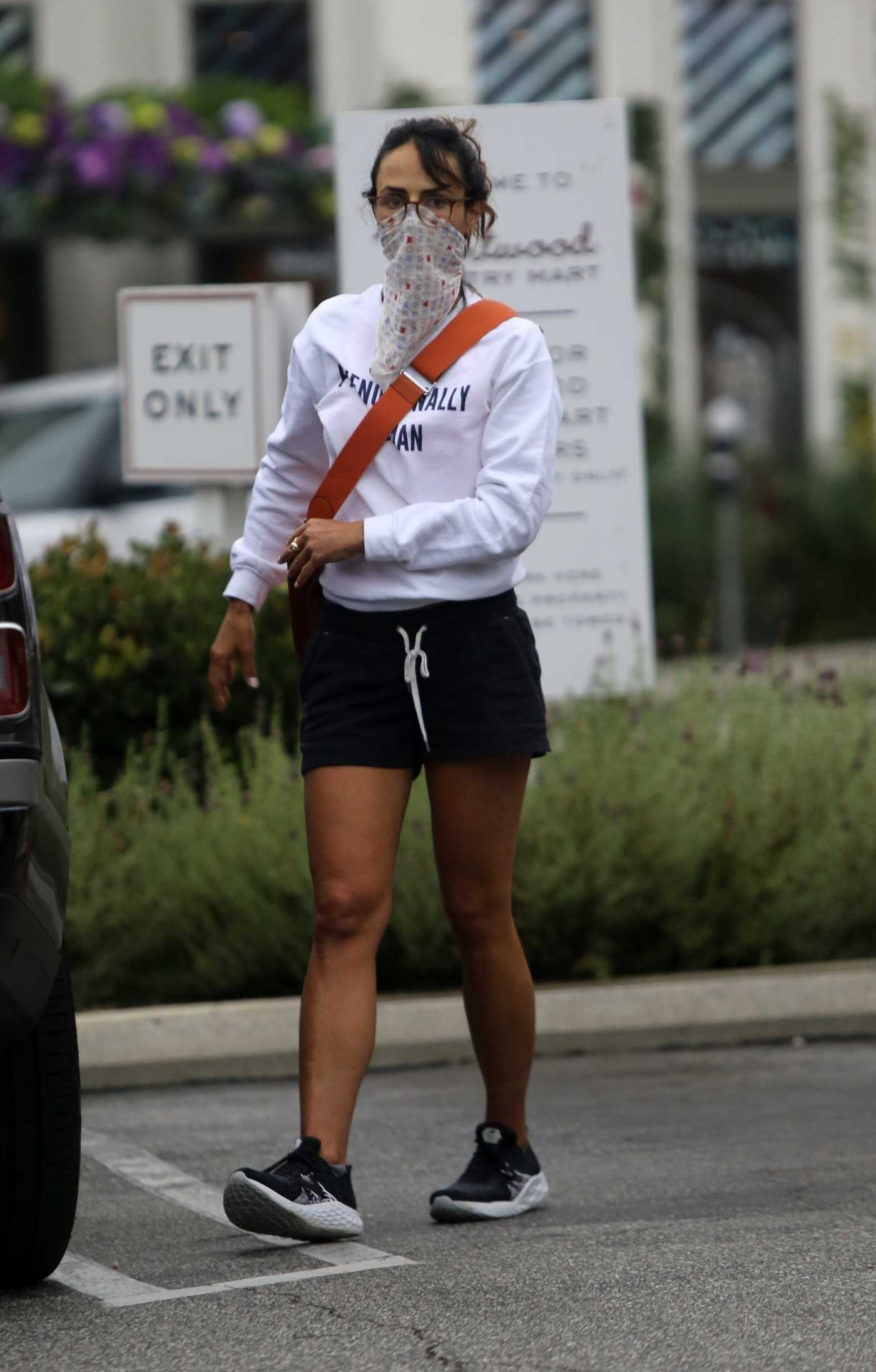 Jordana Brewster in a Bandana as a Face Mask Goes Grocery Shopping in Los Angeles 06/22/2020