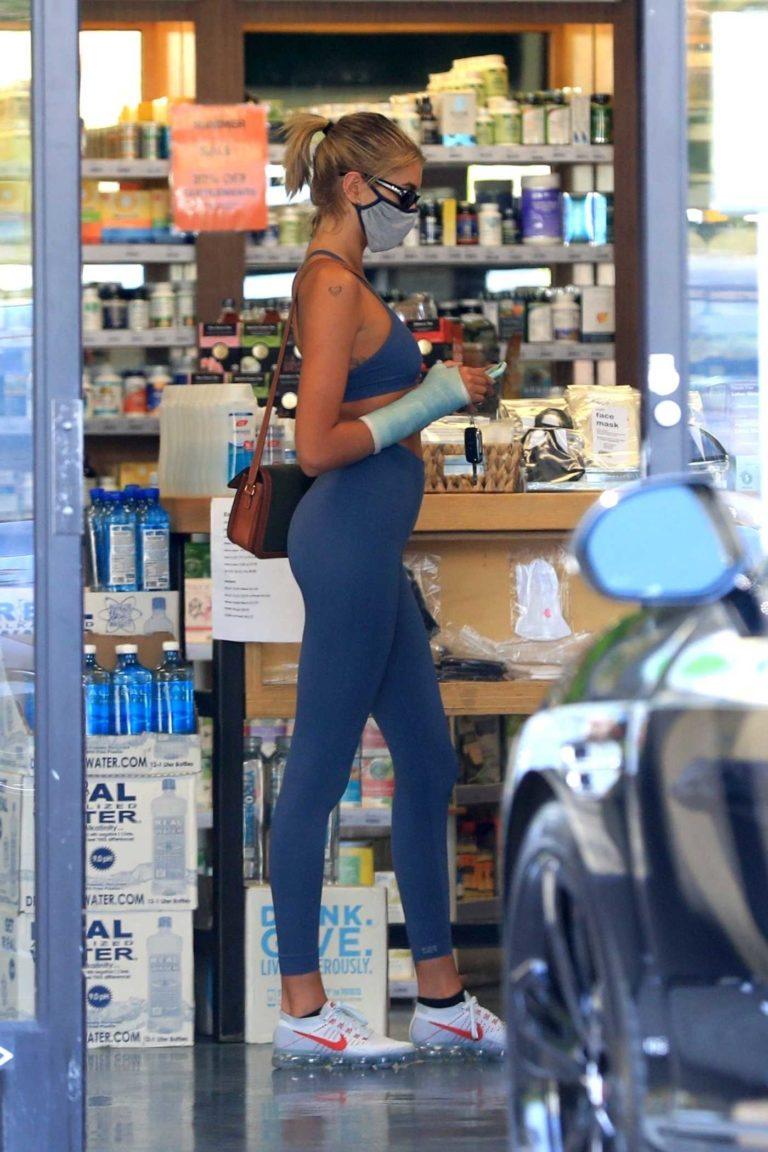 Kaia Gerber in a Blue Sports Bra