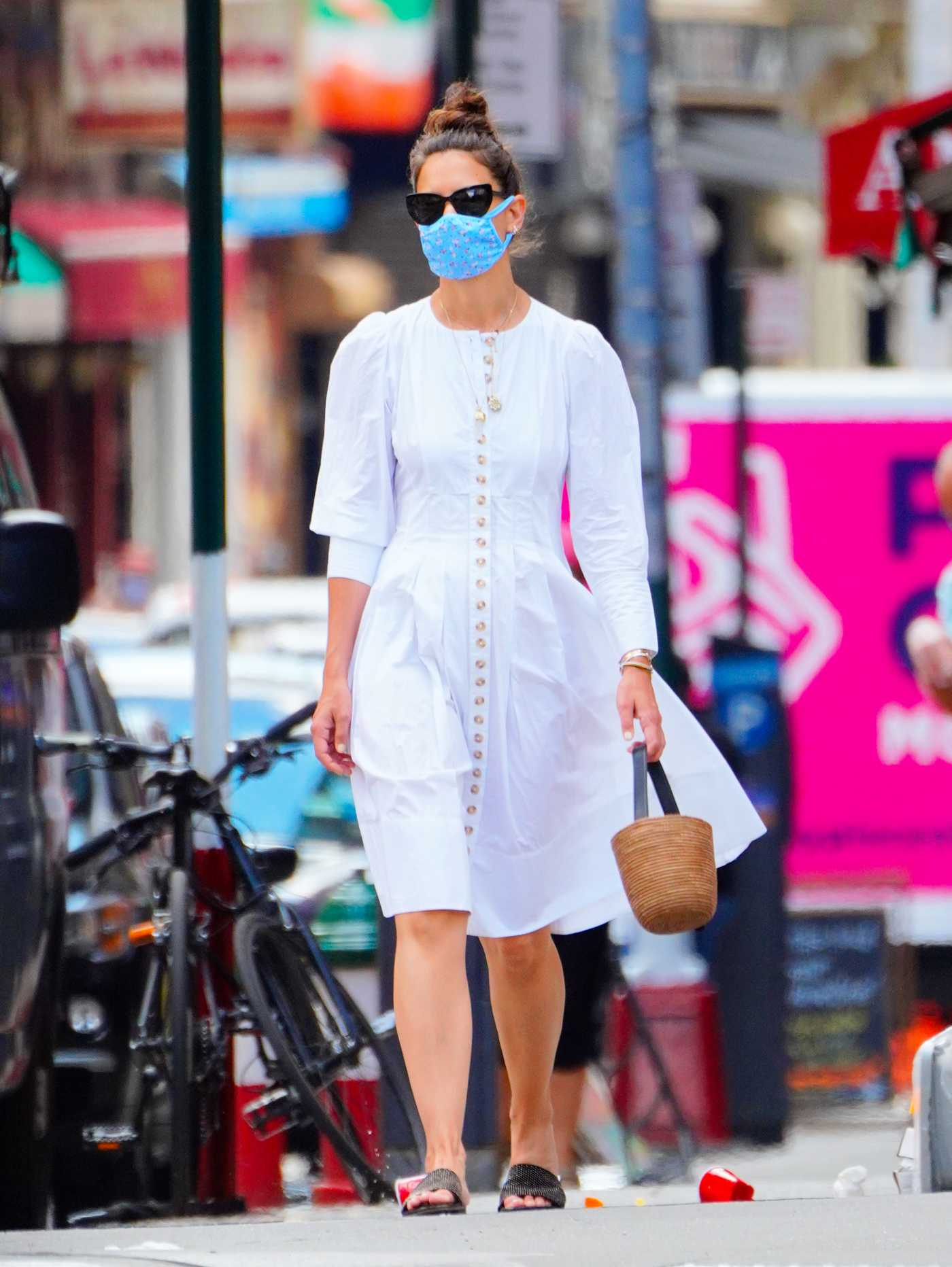 Katie Holmes in a White Dress Was Seen Out Out in New York 06/12/2020