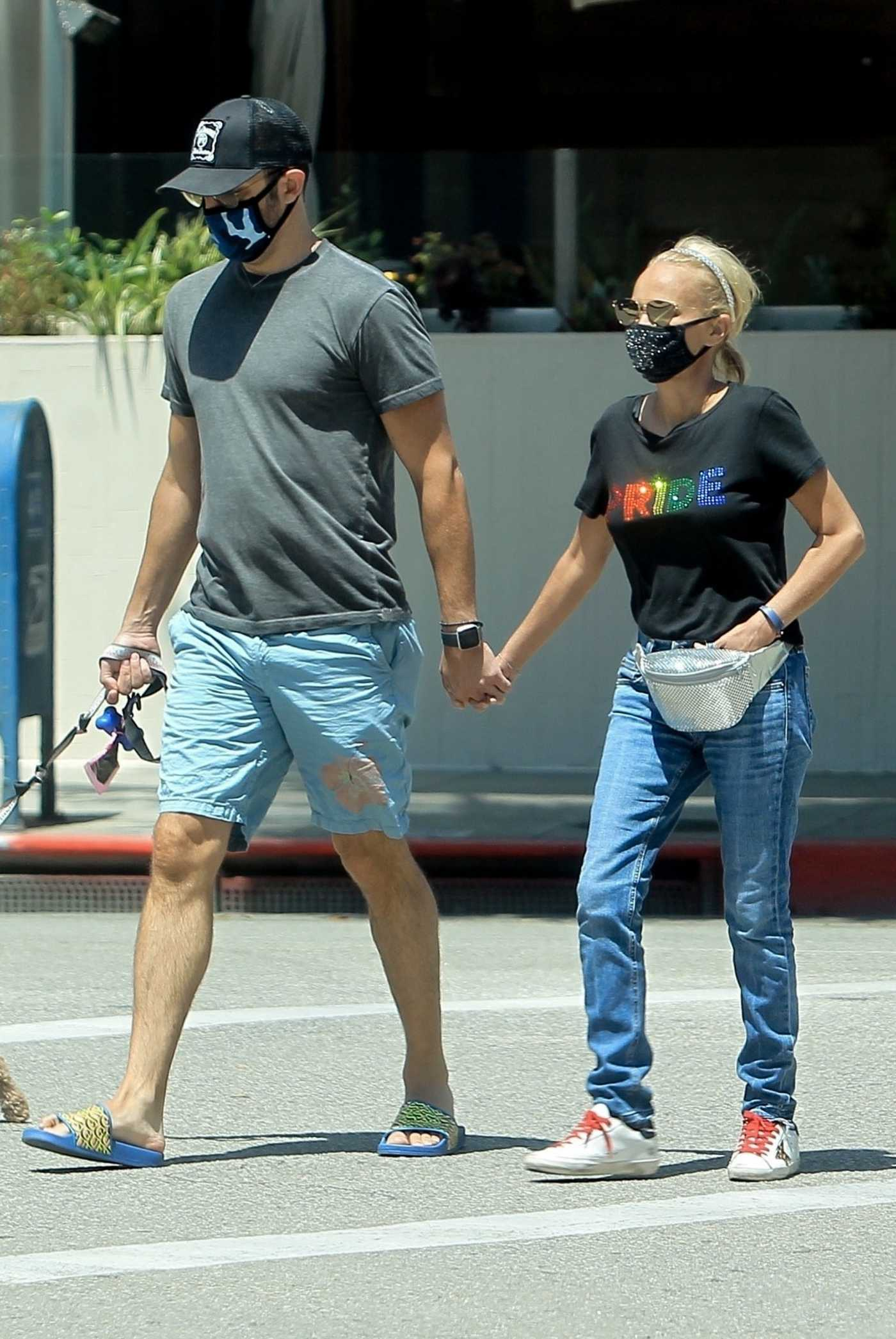 Kristin Chenoweth in a Black Tee that Reads PRIDE Was Seen Out with Her Boyfriend in Beverly Hills 06/26/2020