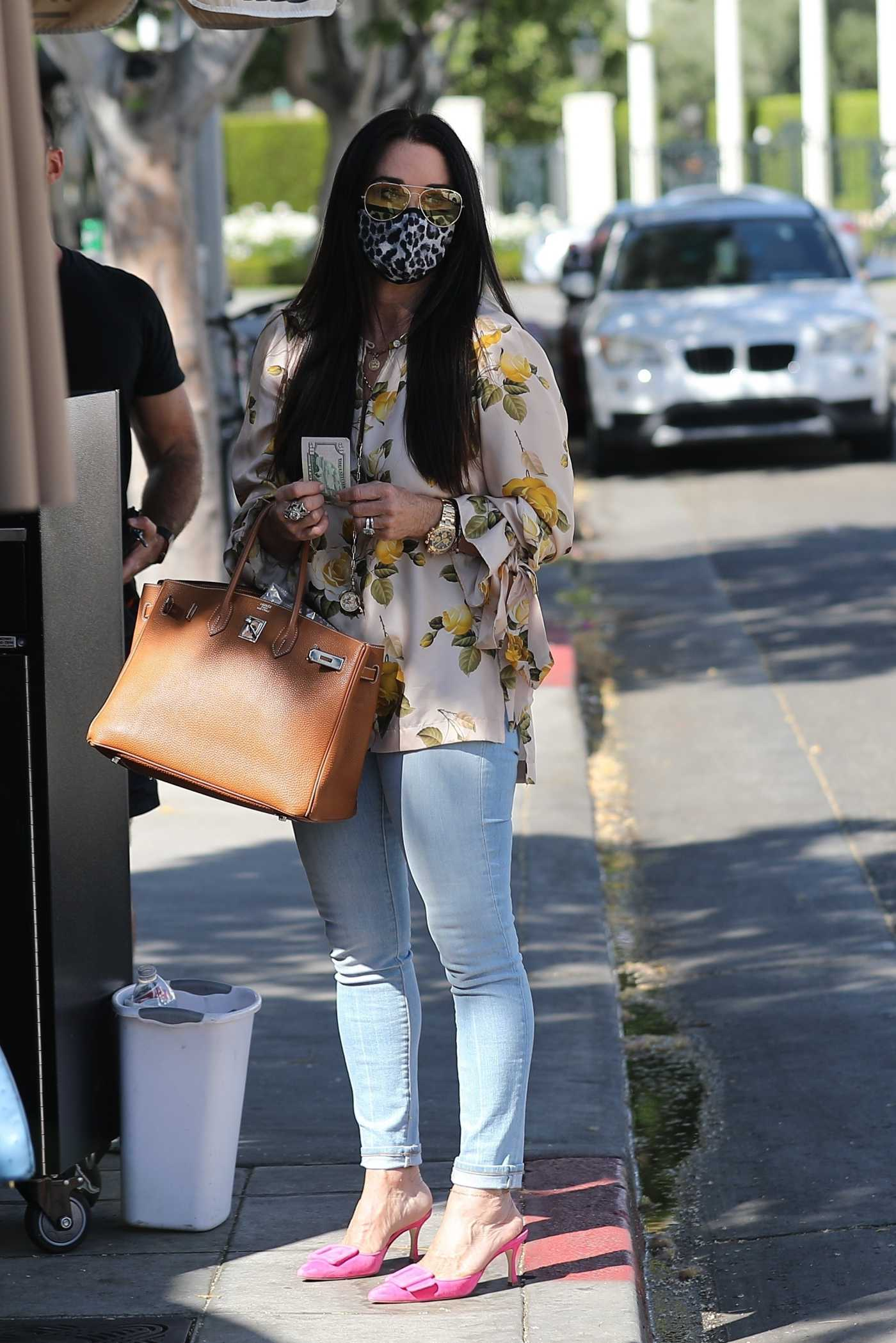 Kyle Richards in a Floral Print Blouse Leaves Lunch at Il Pastaio in Beverly Hills 06/11/2020