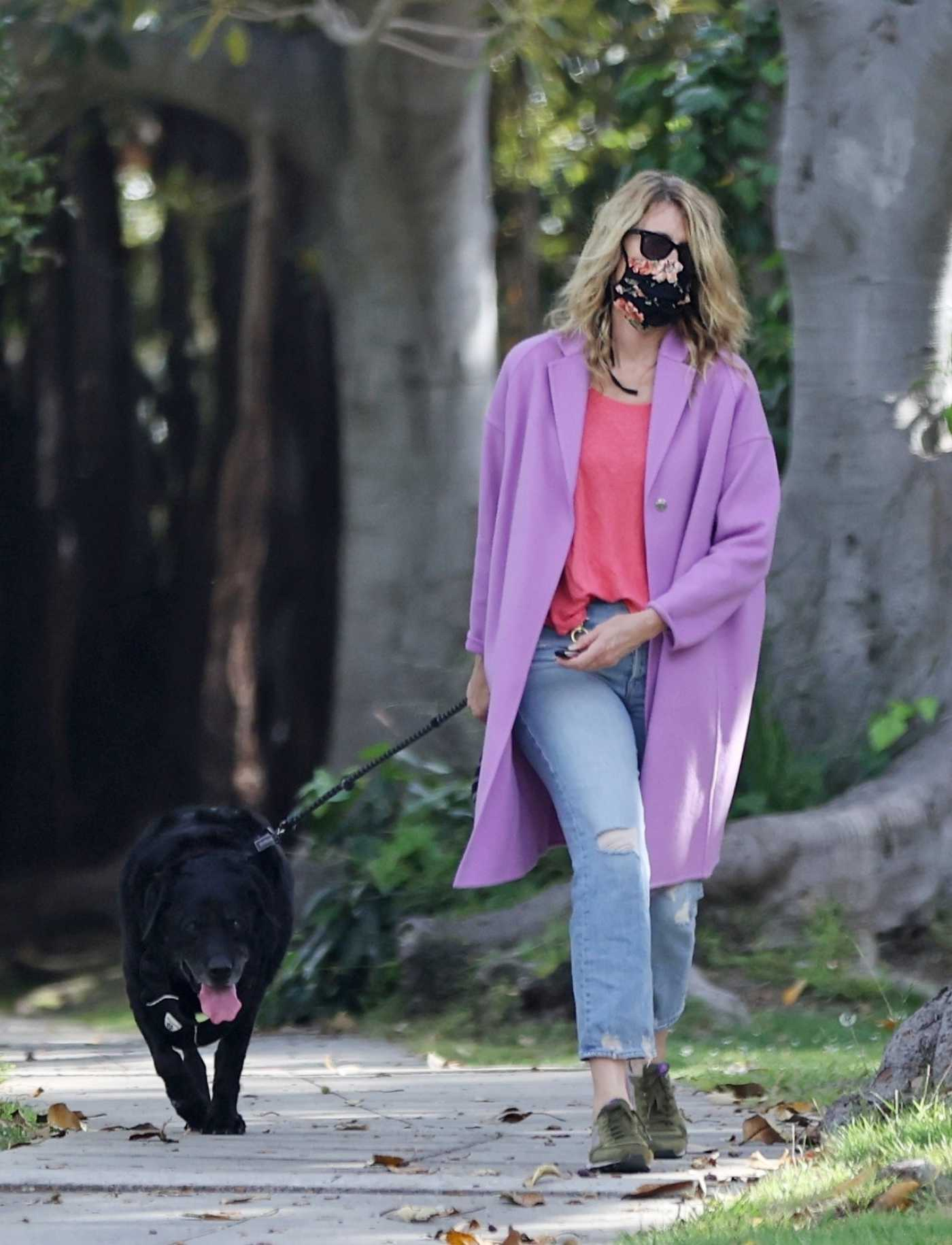 Laura Dern in a Purple Coat Walks Her Dog Near Her Home in Pacific Palisades 06/02/2020
