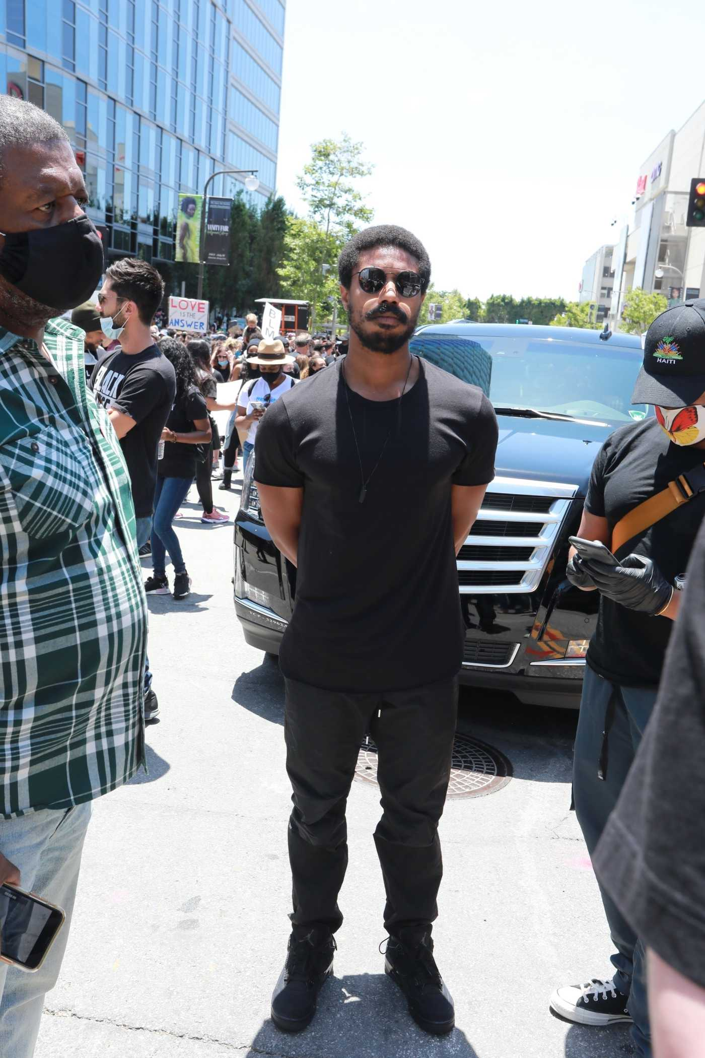 Michael B Jordan in a Black Tee Attends the Black Lives Matter Protest in Century City 06/06/2020