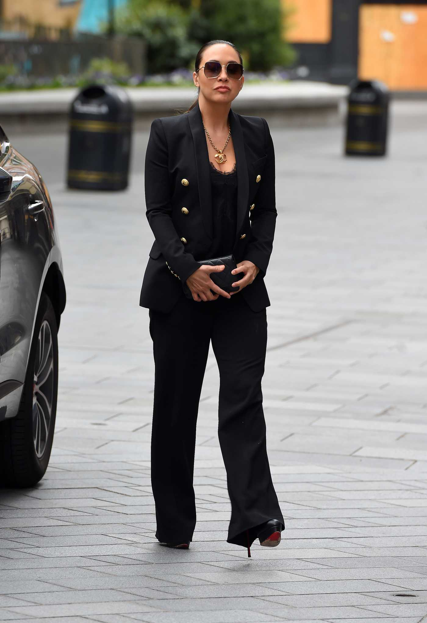 Myleene Klass in a Black Suit Arrives at the Global Radio in London 06/29/2020
