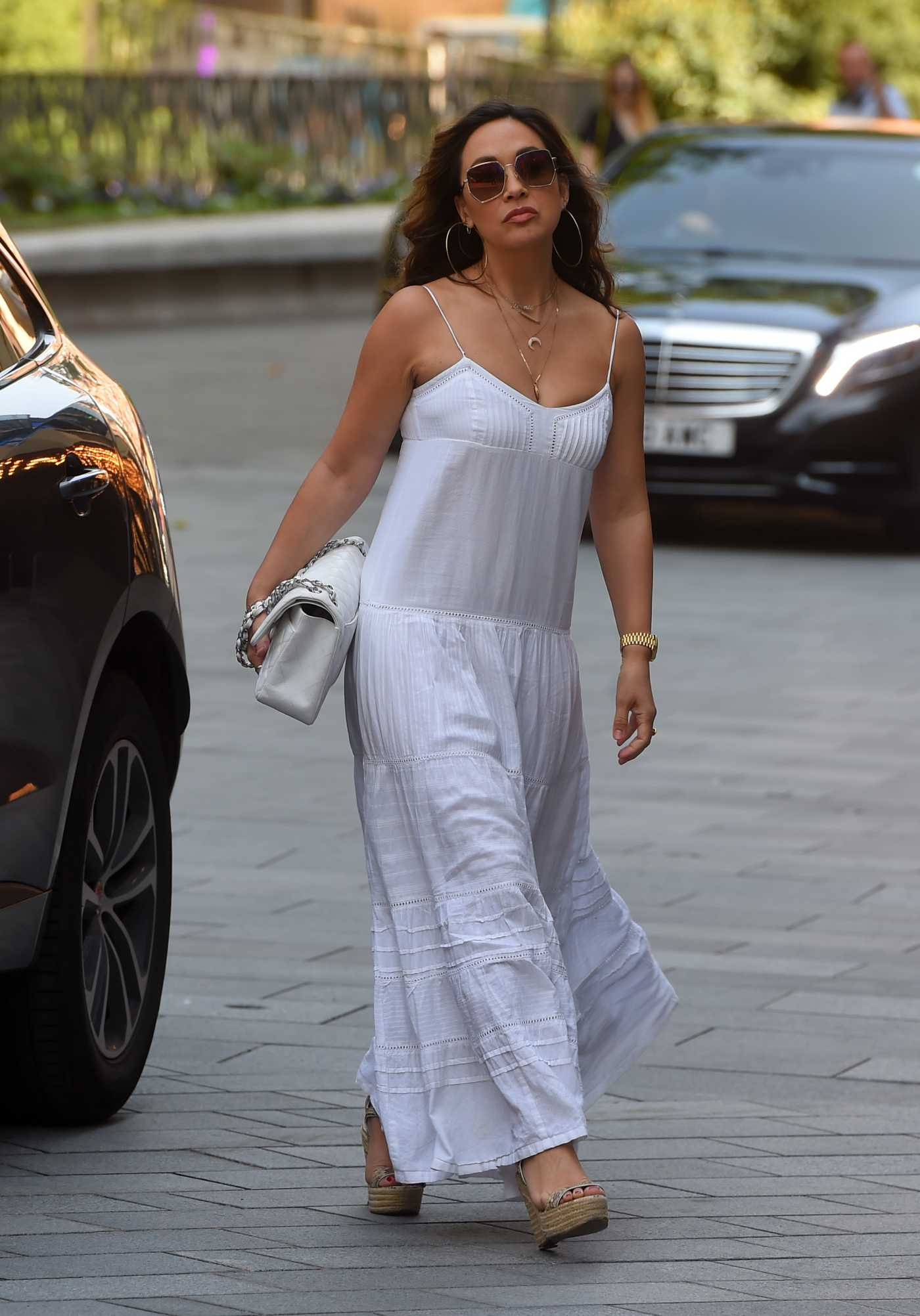 Myleene Klass in a White Summer Dress Arrives at the Smooth Radio in London 06/24/2020