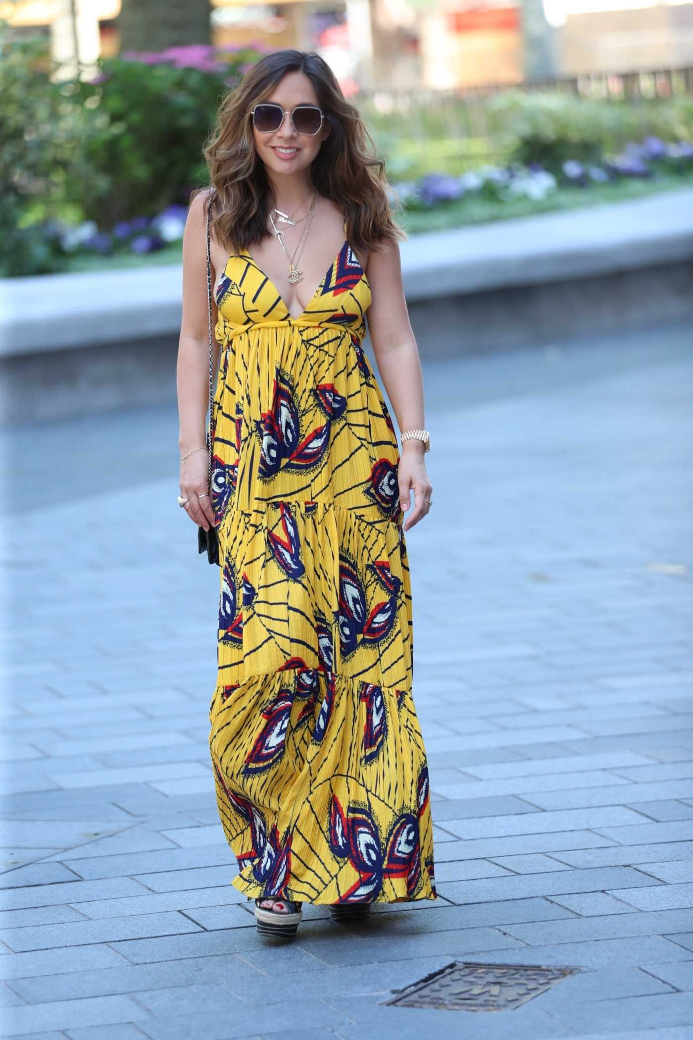 Myleene Klass in a Yellow Maxi Dress Arrives at the Smooth Radio in London 06/25/2020
