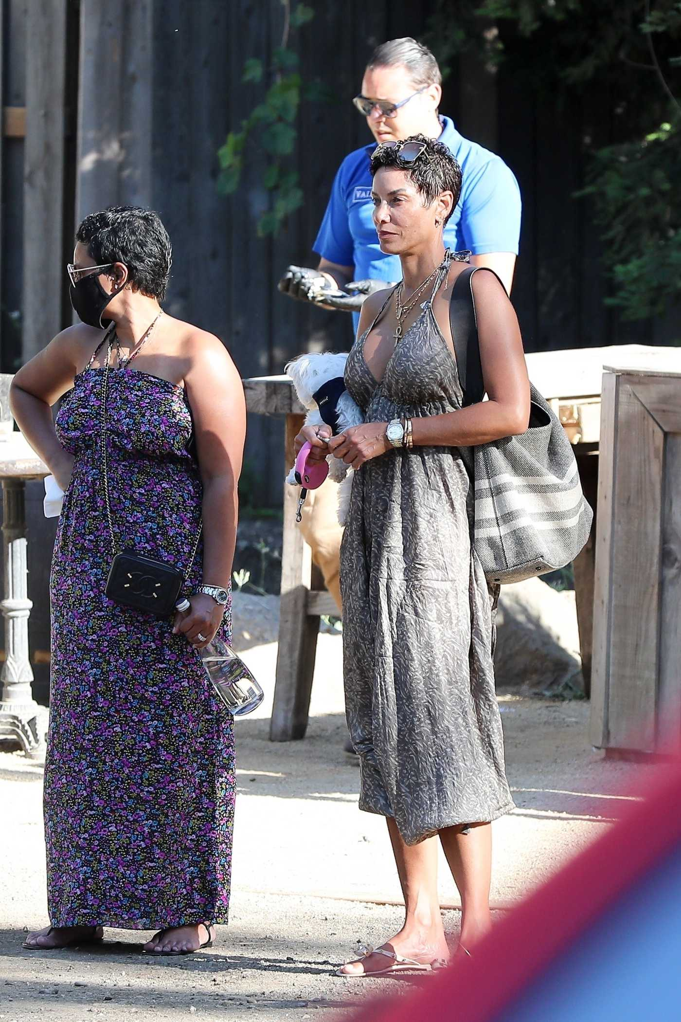 Nicole Murphy in a Gray Summery Dress Was Seen Out with a Friend in Malibu 06/14/2020