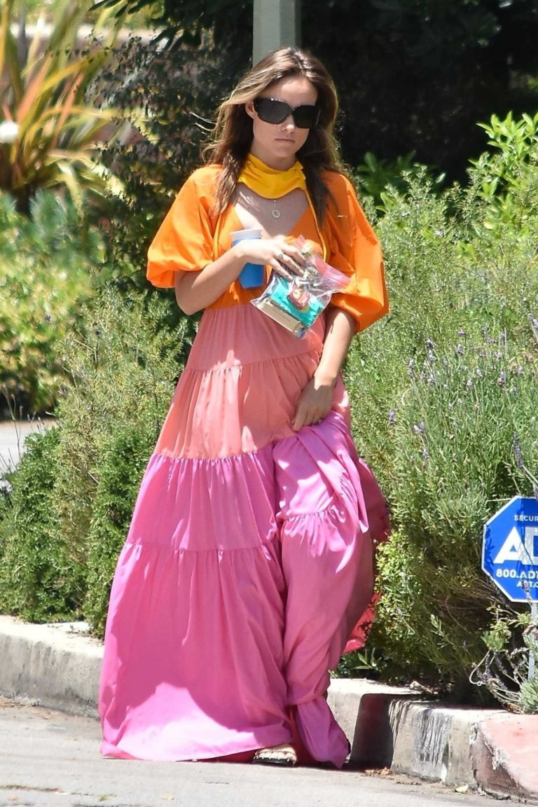 Olivia Wilde in a Rainbow Dress