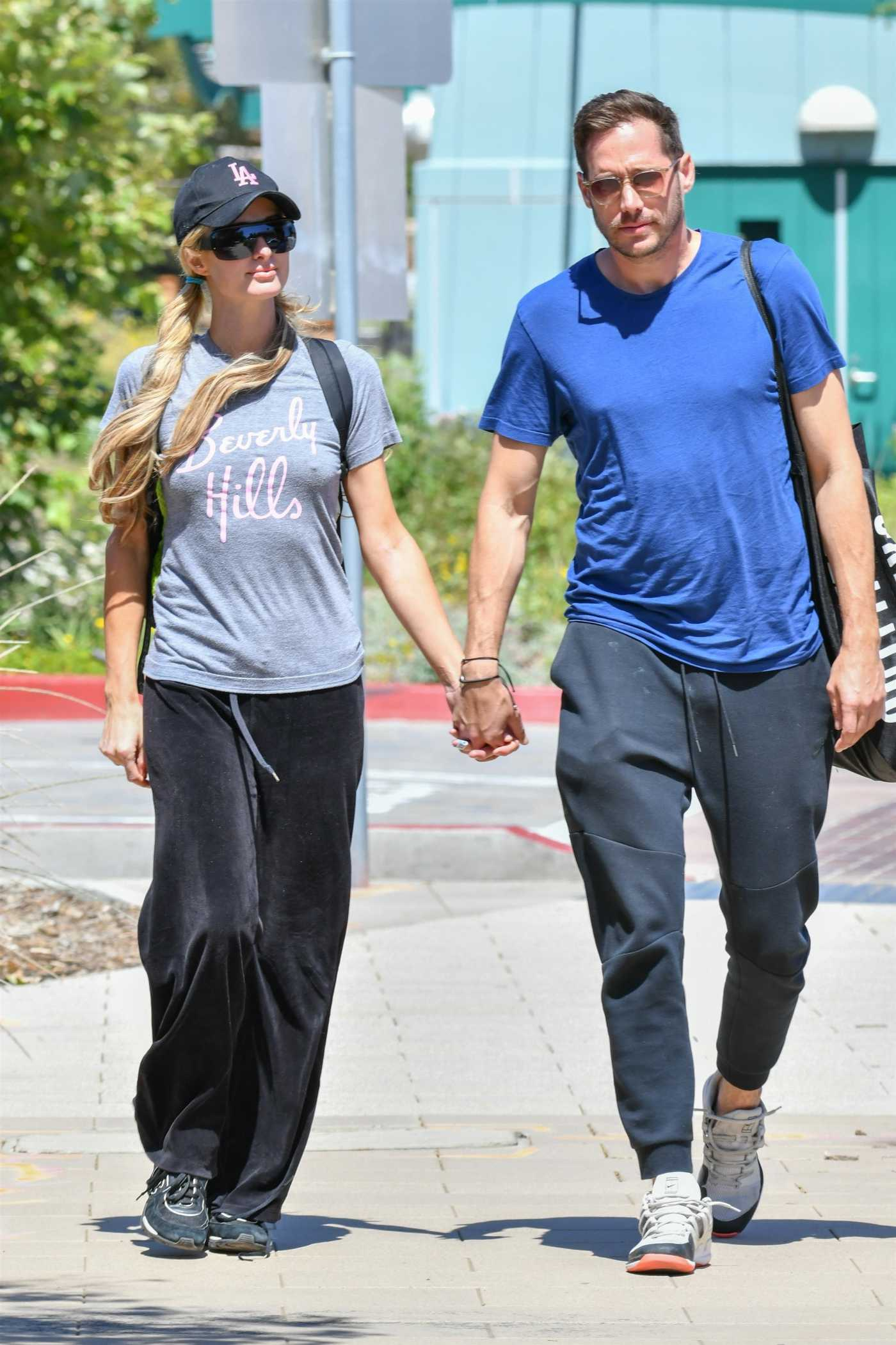 Paris Hilton in a Gray Tee Was Seen Out with Carter Reum in Malibu 06/07/2020