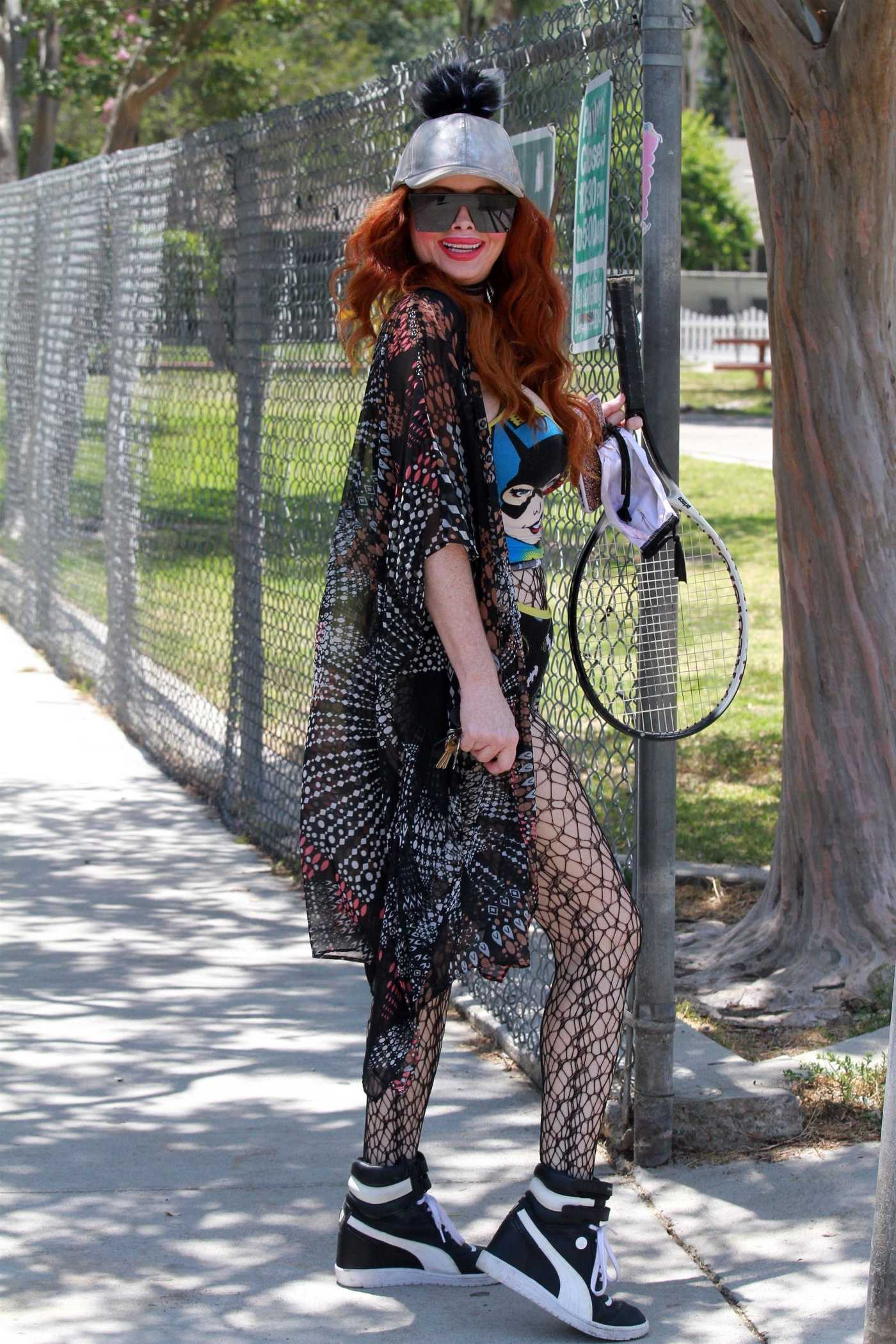Phoebe Price in a Black Super Girl Outfit Attends the Local Tennis Court in Studio City 06/20/2020