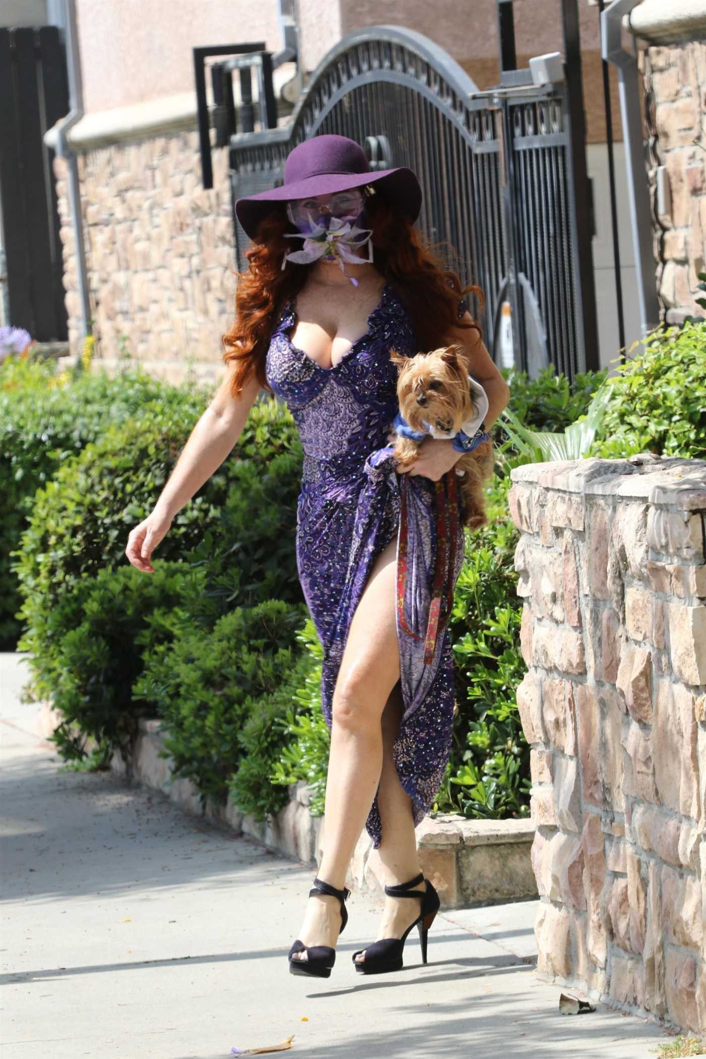 Phoebe Price in a Purple Dress Walks Her Dog in Los Angeles 06/22/2020
