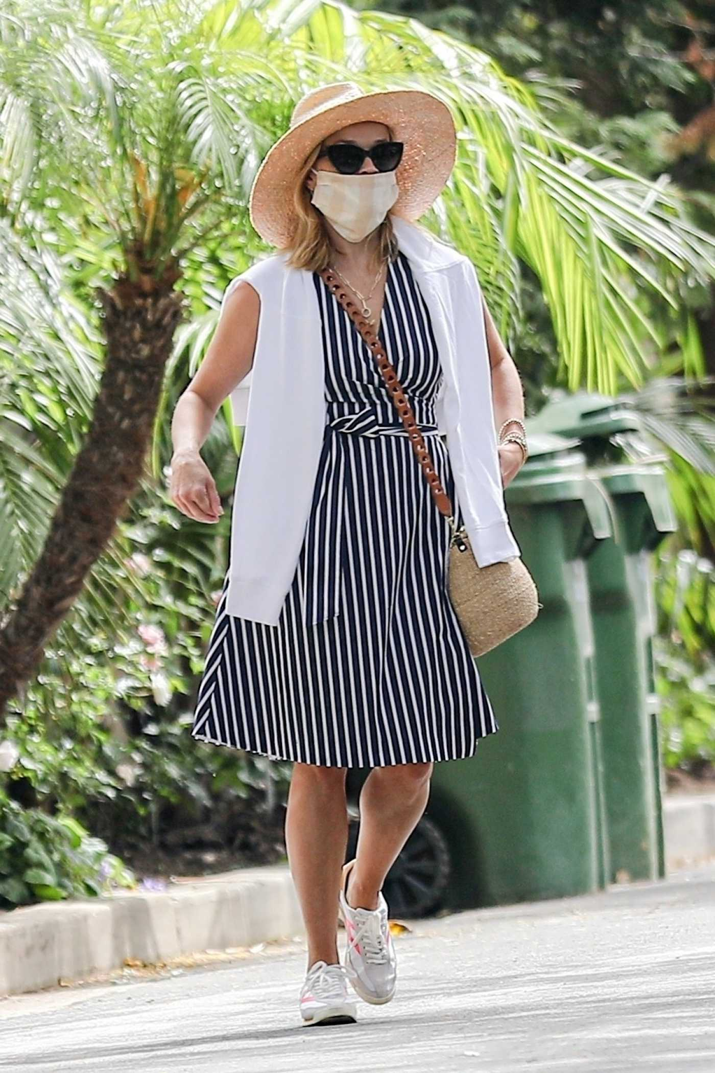 Reese Witherspoon in a Striped Dress Was Seen Out with Jim Toth in Brentwood 06/23/2020