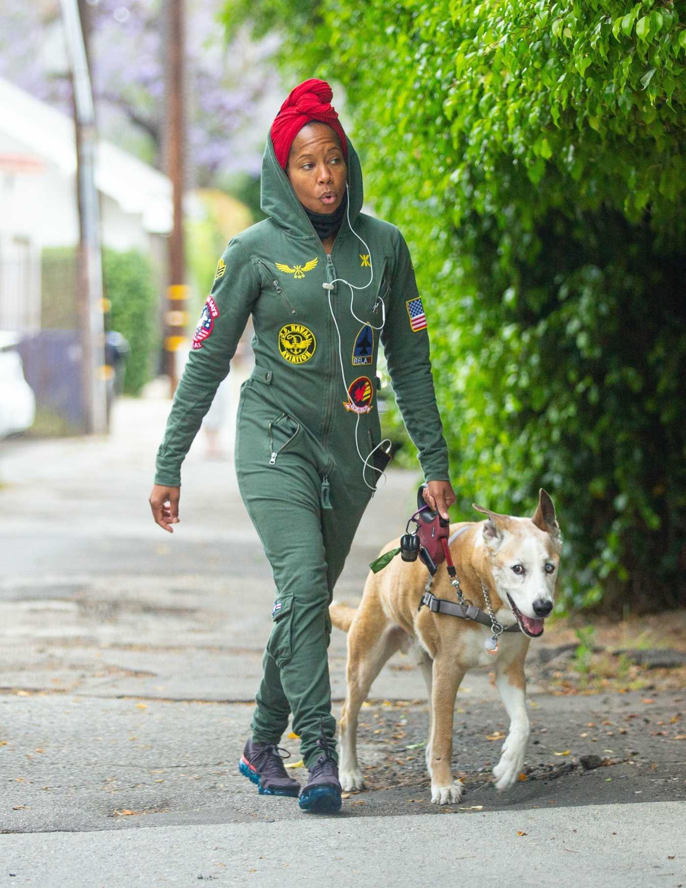 Regina King in a Green Coverall Walks Her Dog in Los Angeles 06/05/2020