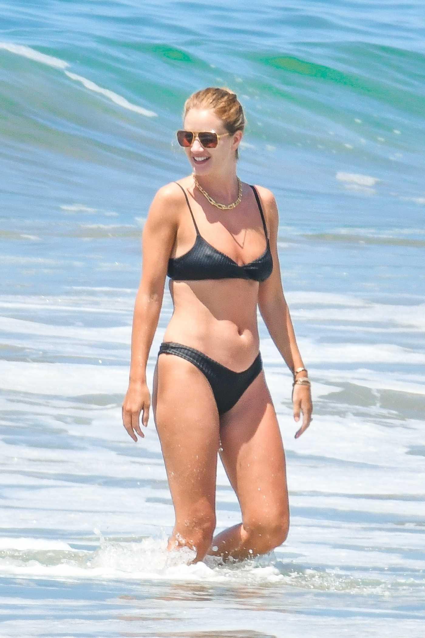Rosie Huntington-Whiteley in a Black Bikini on the Beach in Malibu 06/14/2020