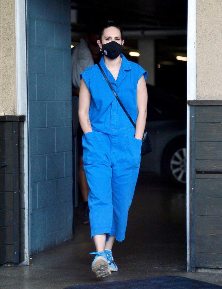 Rumer Willis in a Blue Jumpsuit