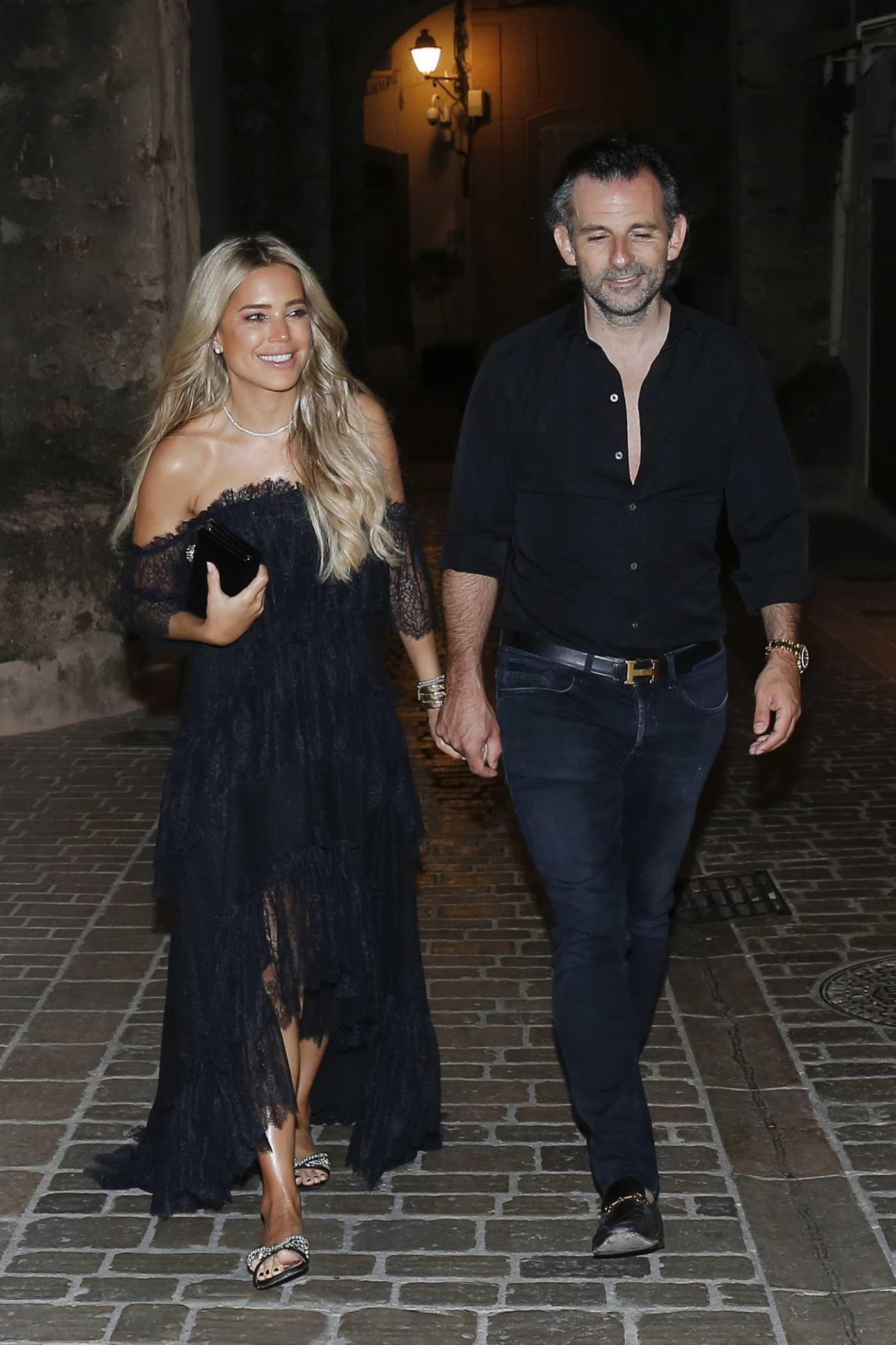 Sylvie Meis in a Black Dress Enjoys a Romantic Stroll in Saint Tropez 06/21/2020