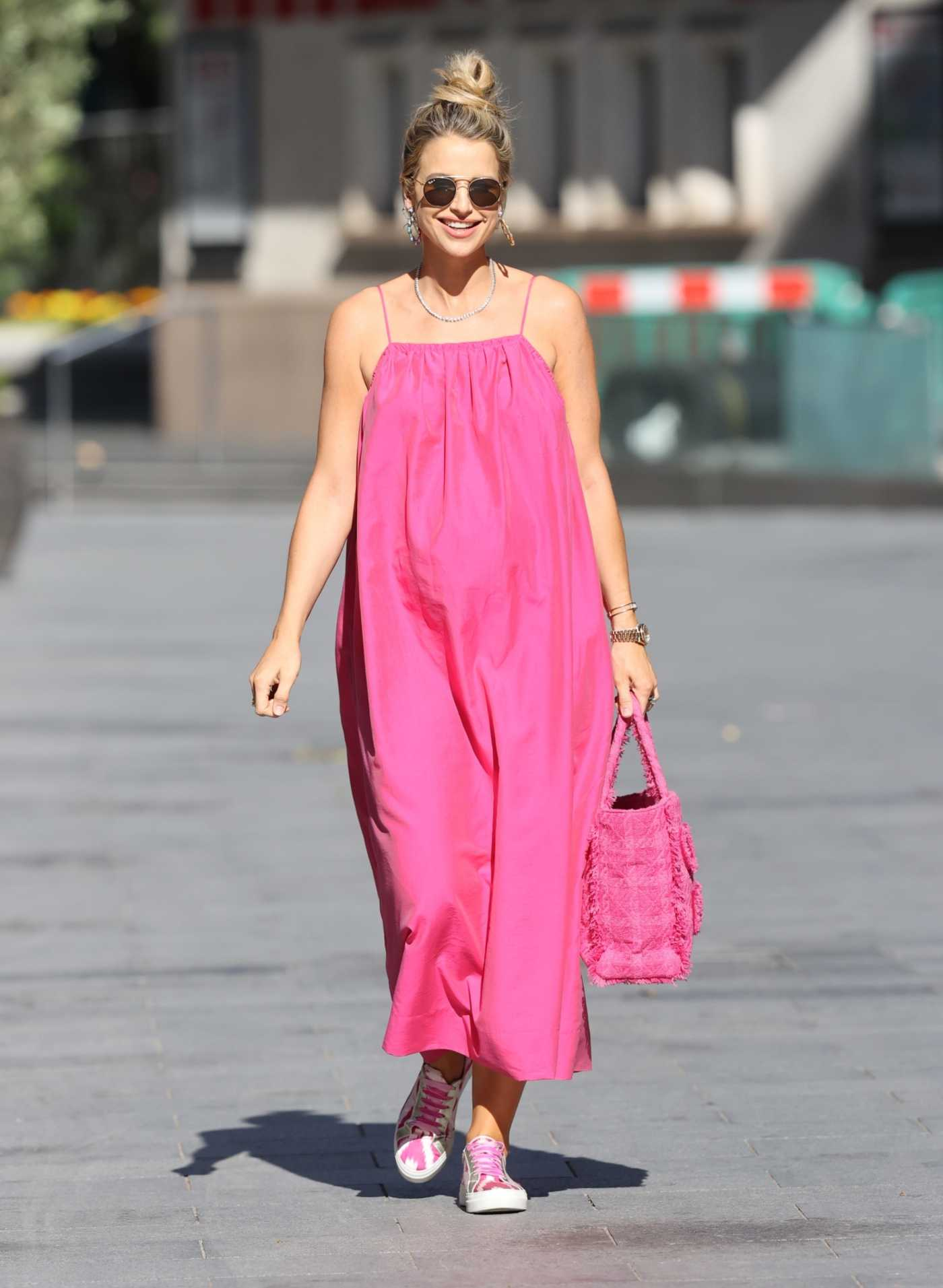 Vogue Williams in a Pink Floaty Dress Leaves the Heart Radio Studios in London 06/14/2020