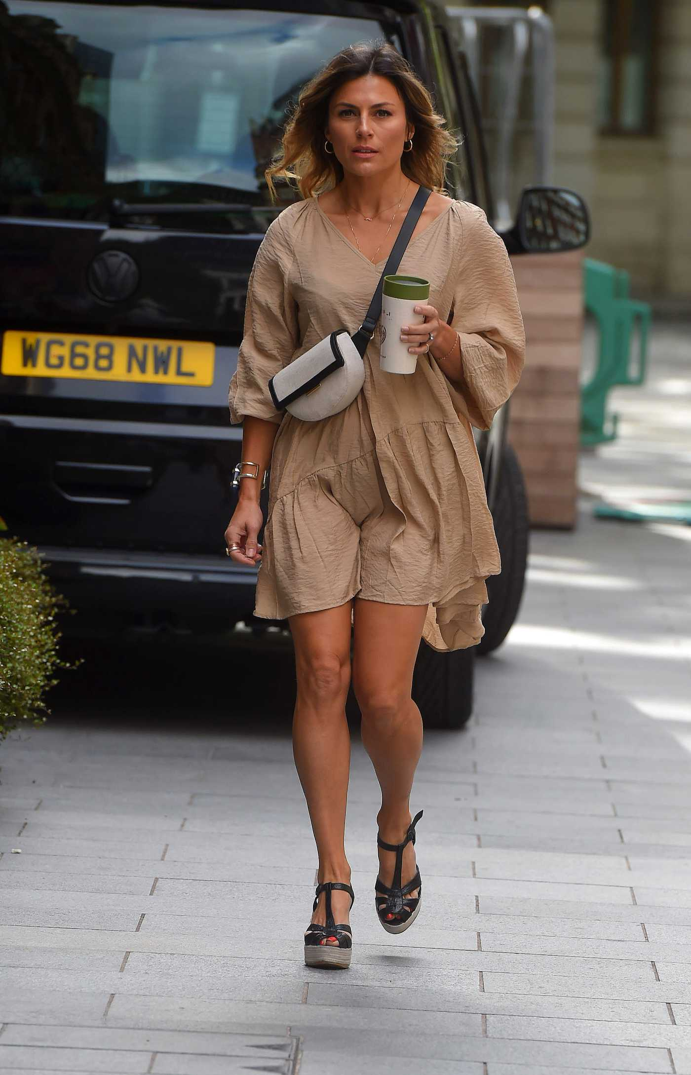 Zoe Hardman in a Beige Dress Arrives at Global Radio Studios in London 06/28/2020