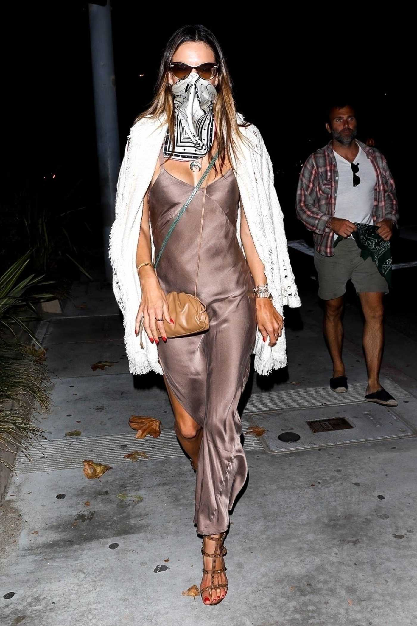 Alessandra Ambrosio in a Bandana as a Face Mask Leaves Nobu After Dinner in Malibu 07/05/2020