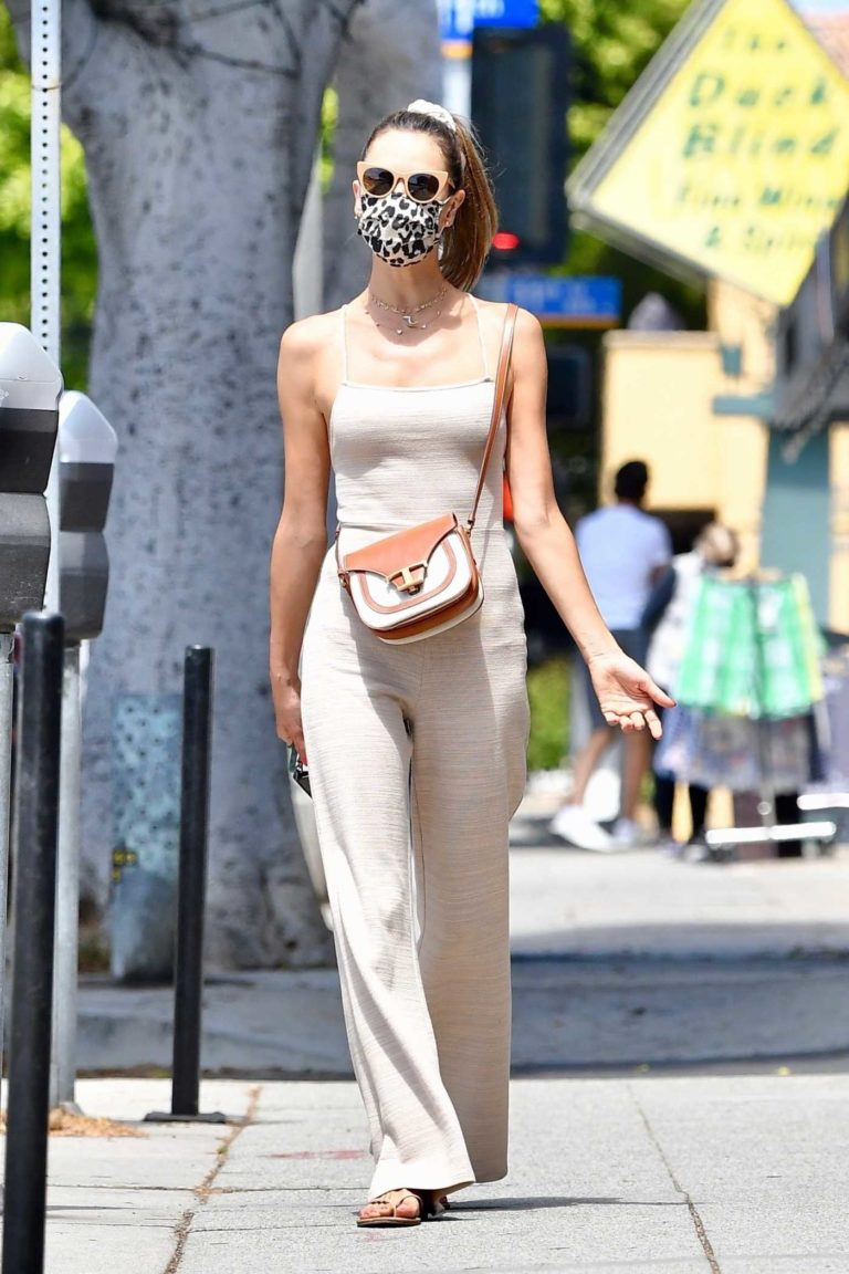 Alessandra Ambrosio in a Beige Jumpsuit
