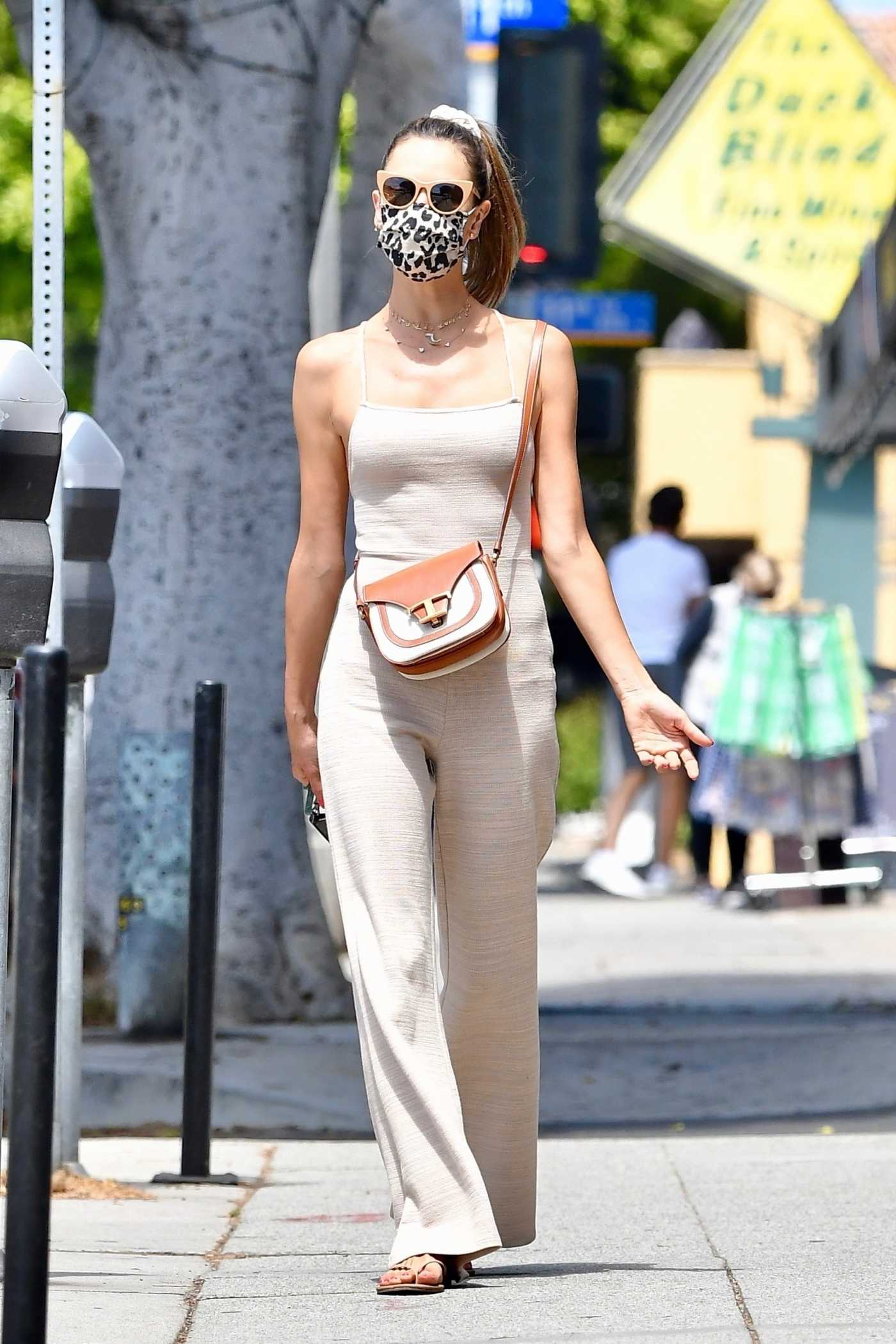 Alessandra Ambrosio in a Beige Jumpsuit Goes Shopping with a Friend in Santa Monica 07/26/2020