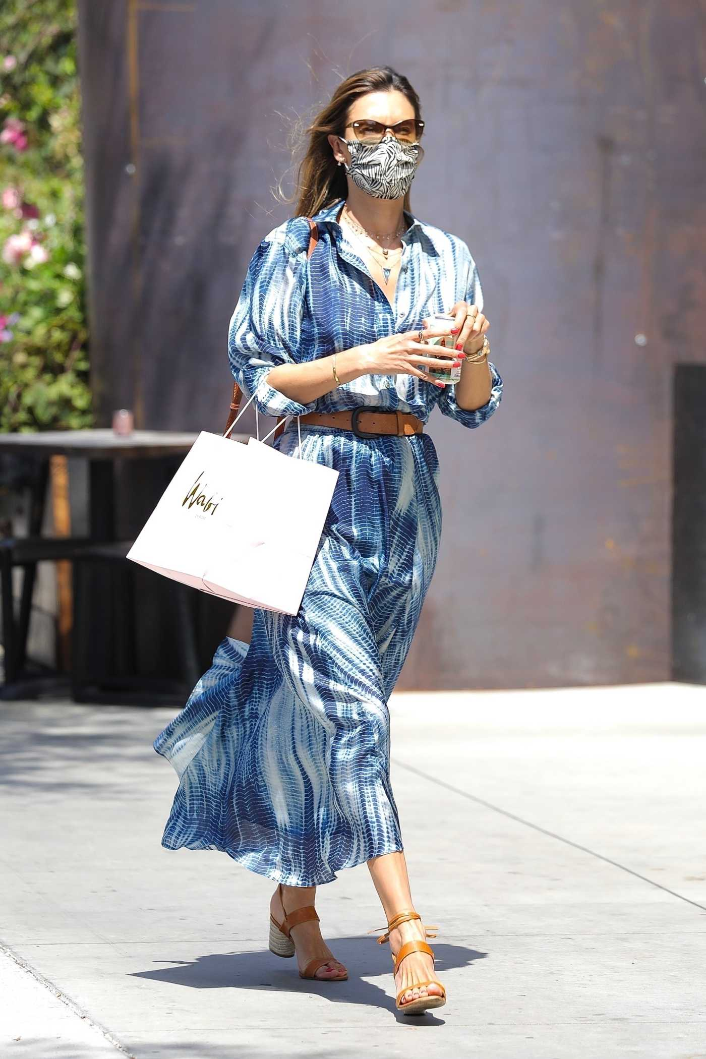 Alessandra Ambrosio in a Blue Dress Goes Shopping in Los Angeles 07/27/2020