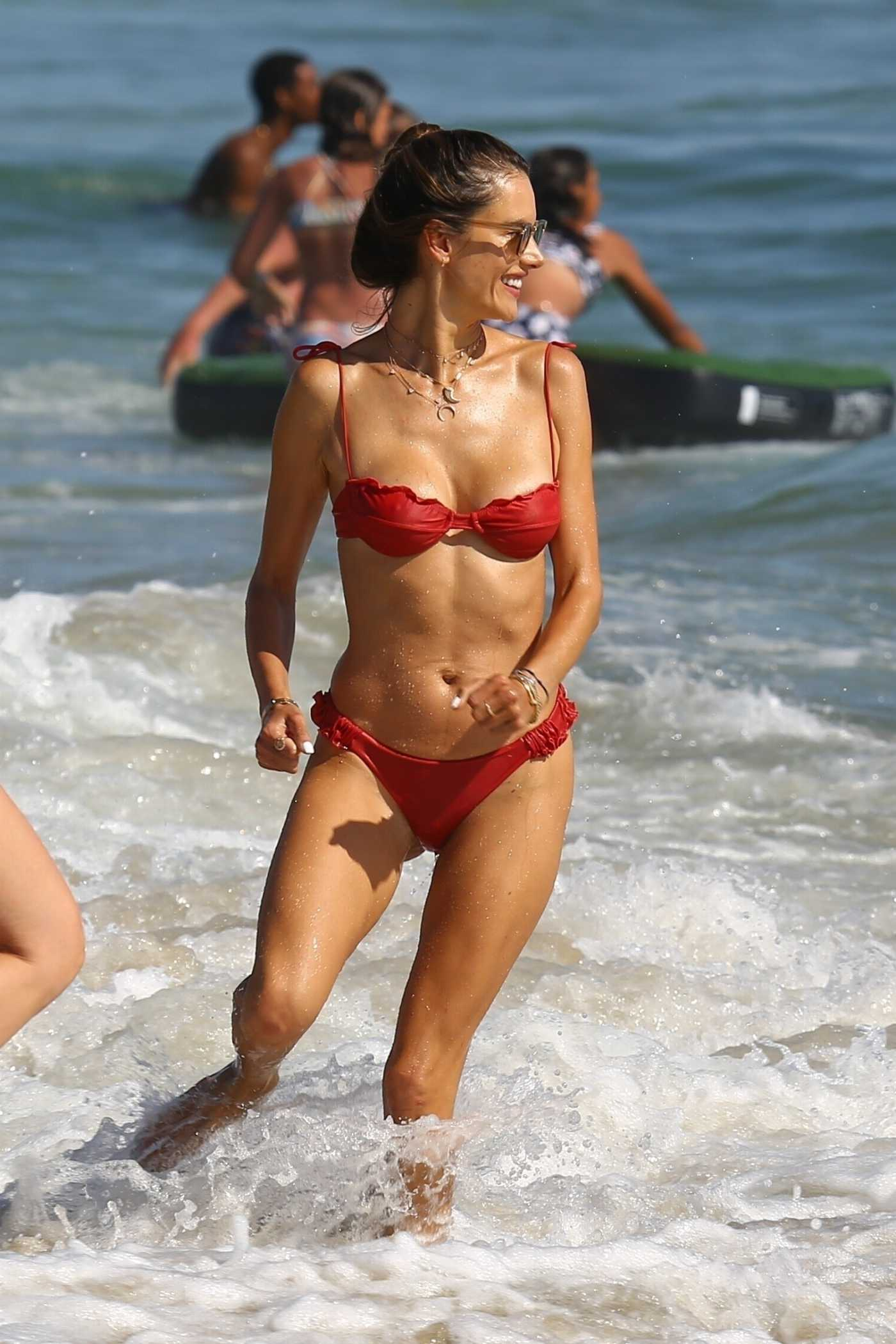 Alessandra Ambrosio in a Red Bikini on the Beach in Los Angeles 07/11/2020