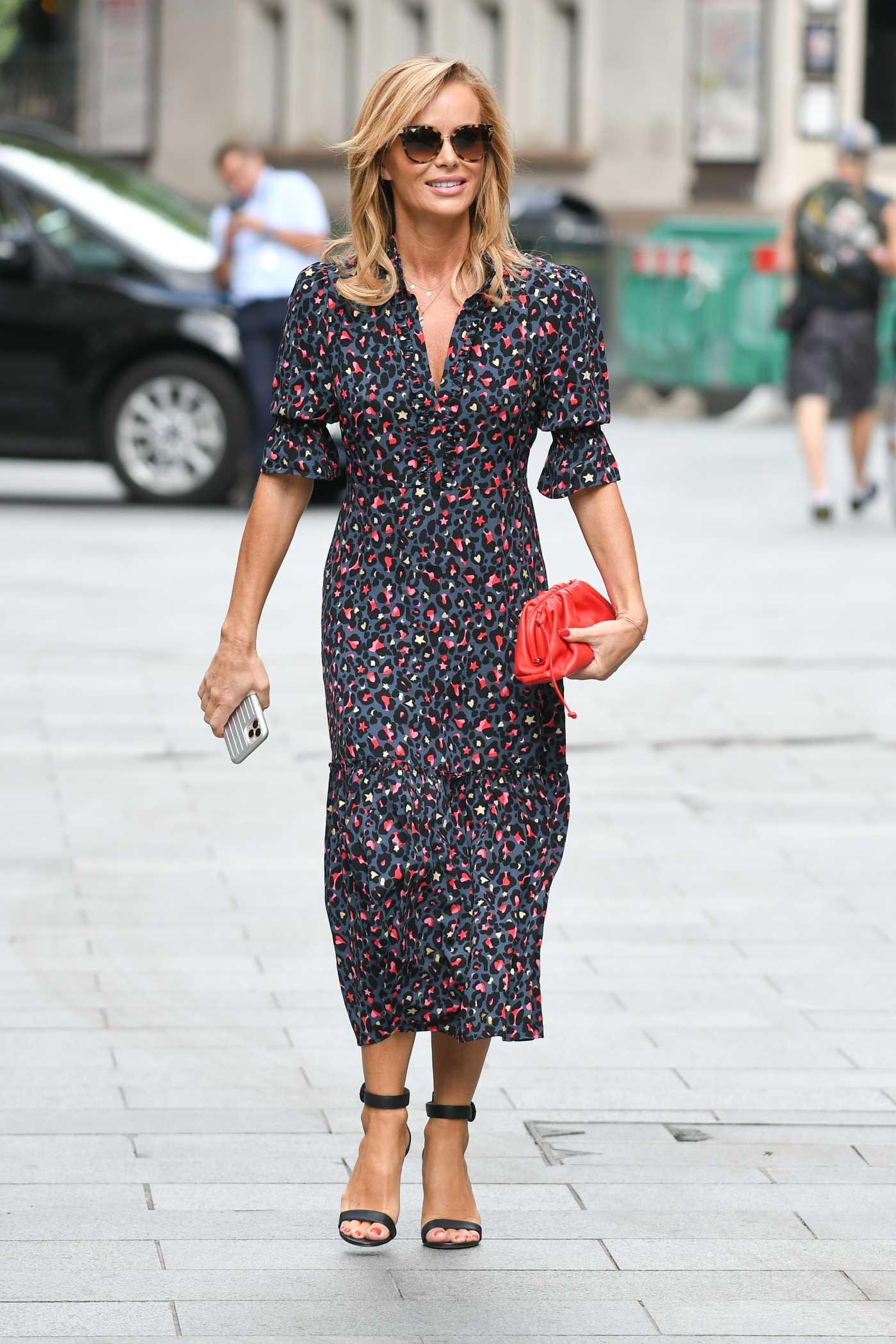 Amanda Holden in a Gray Star Print Dress Leaves the Global Radio Studios in London 07/03/2020